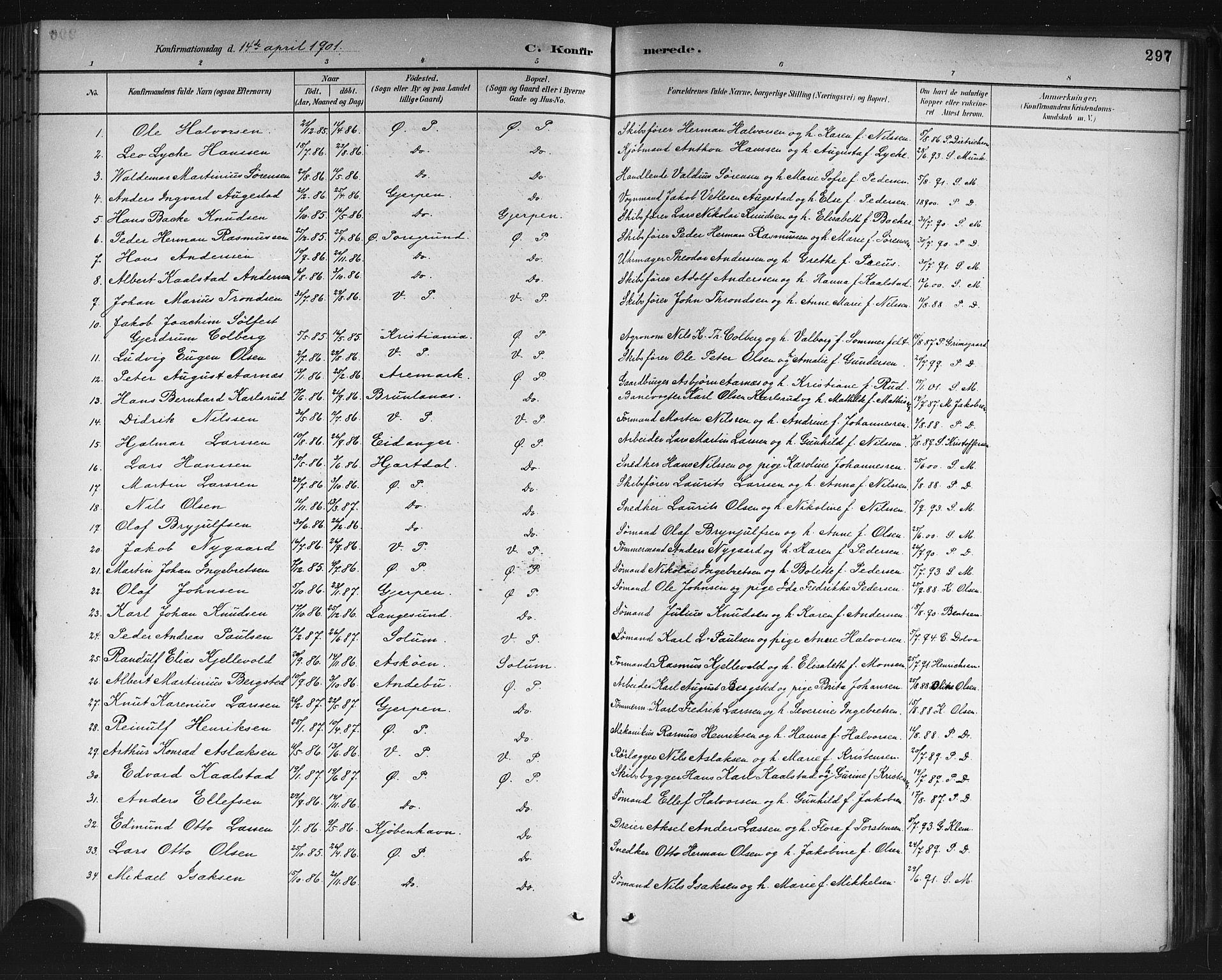 SAKO, Porsgrunn kirkebøker , G/Gb/L0005: Klokkerbok nr. II 5, 1883-1915, s. 297