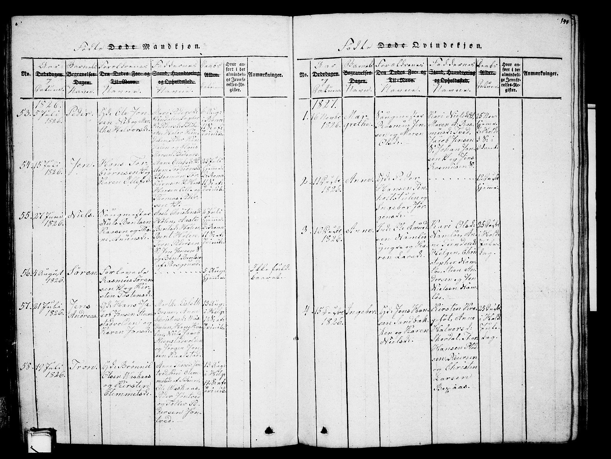 SAKO, Holla kirkebøker, G/Ga/L0001: Klokkerbok nr. I 1, 1814-1830, s. 141