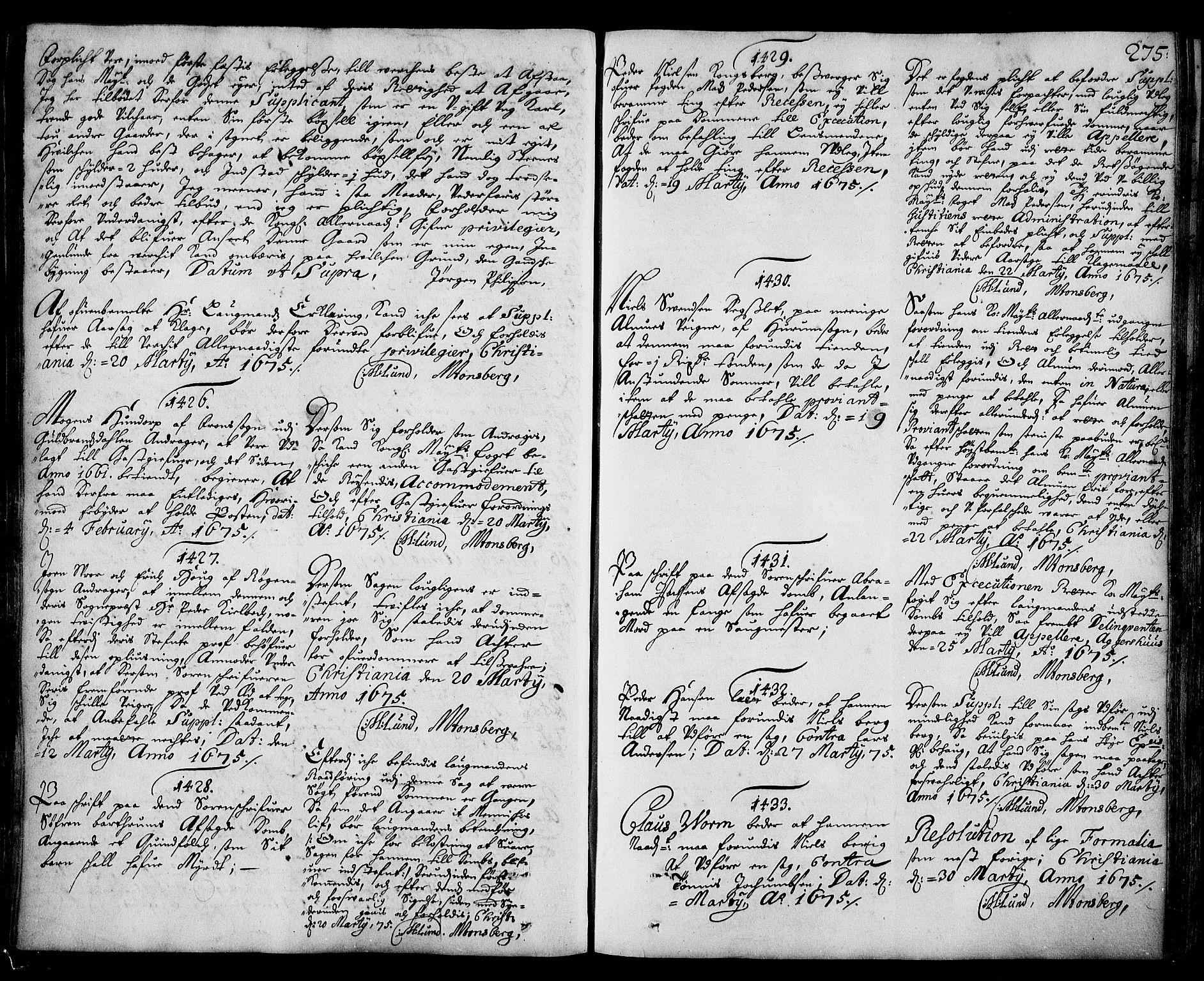 RA, Stattholderembetet 1572-1771, Ad/L0003: Supplikasjons- og resolusjonsprotokoll, 1671-1682, s. 274b-275a