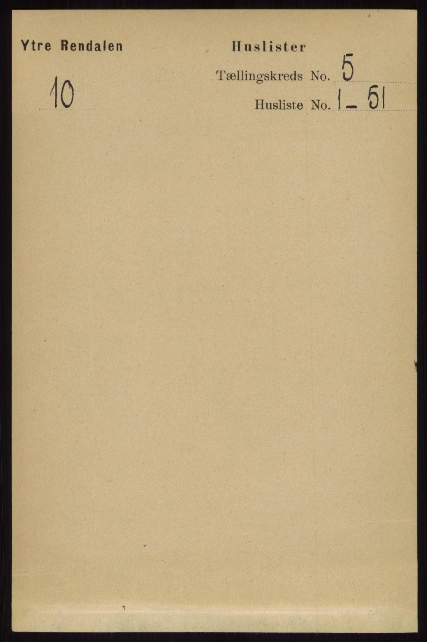 RA, Folketelling 1891 for 0432 Ytre Rendal herred, 1891, s. 1139