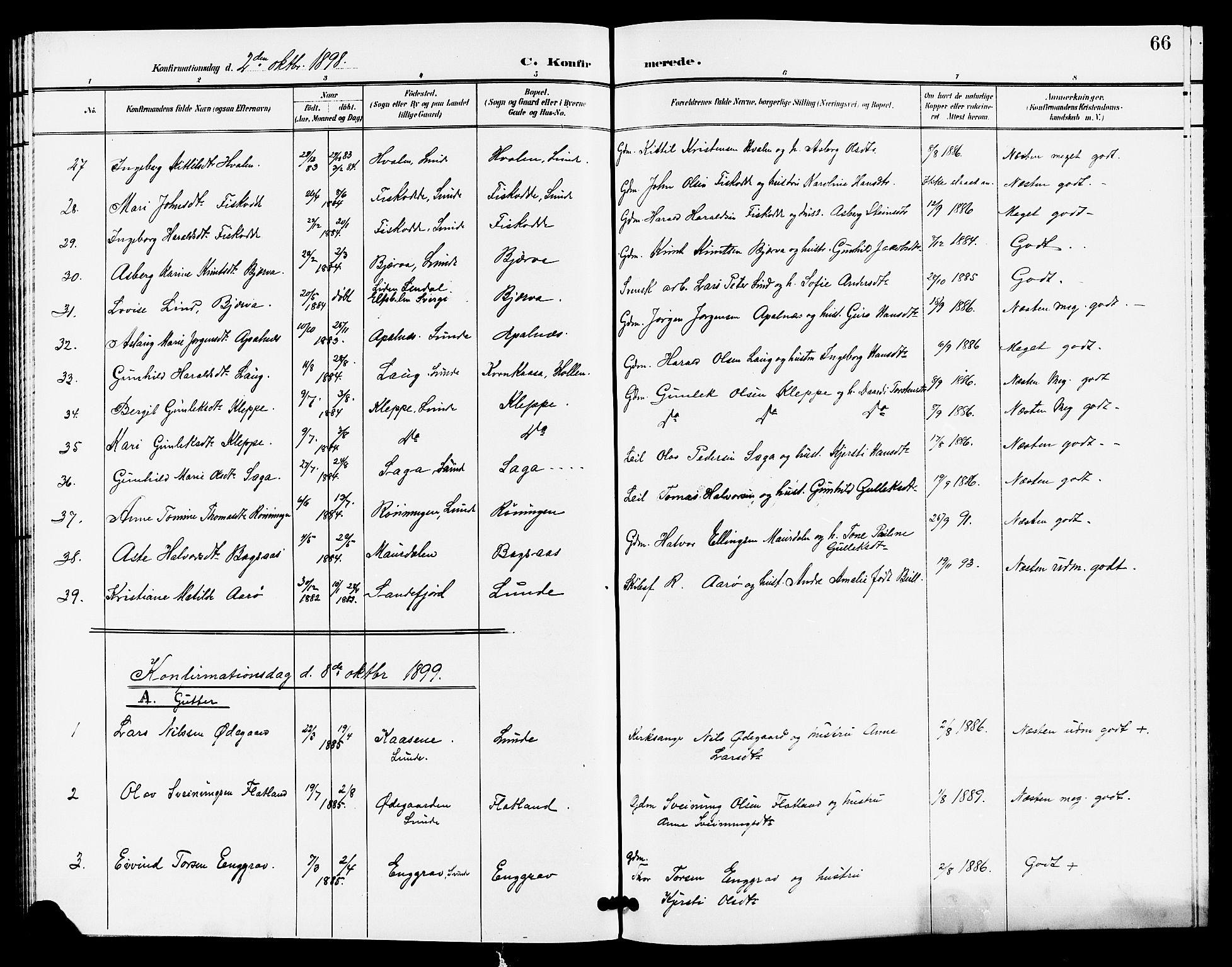 SAKO, Lunde kirkebøker, G/Ga/L0003: Klokkerbok nr. I 3, 1896-1905, s. 66