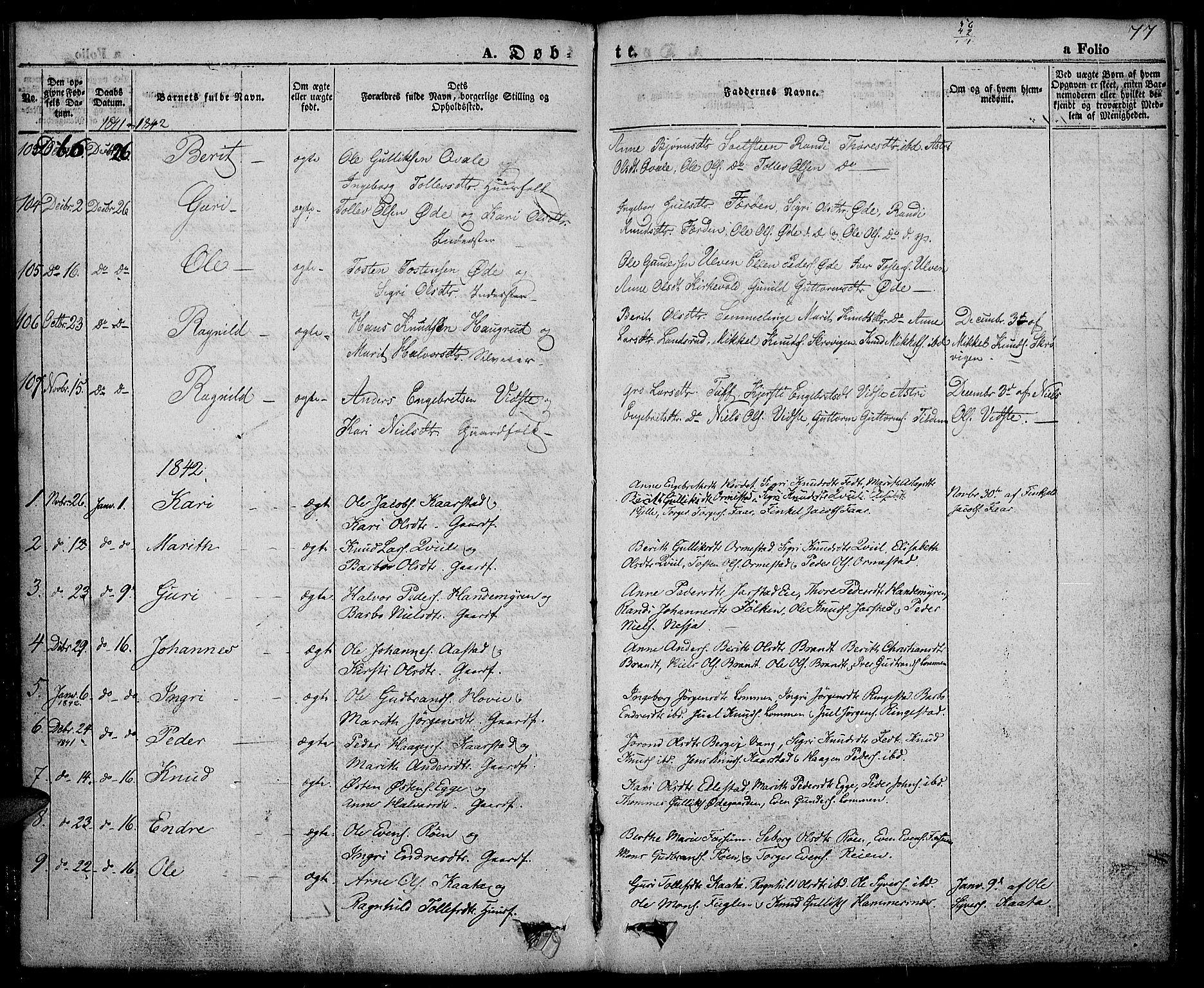 SAH, Slidre prestekontor, Ministerialbok nr. 3, 1831-1843, s. 77