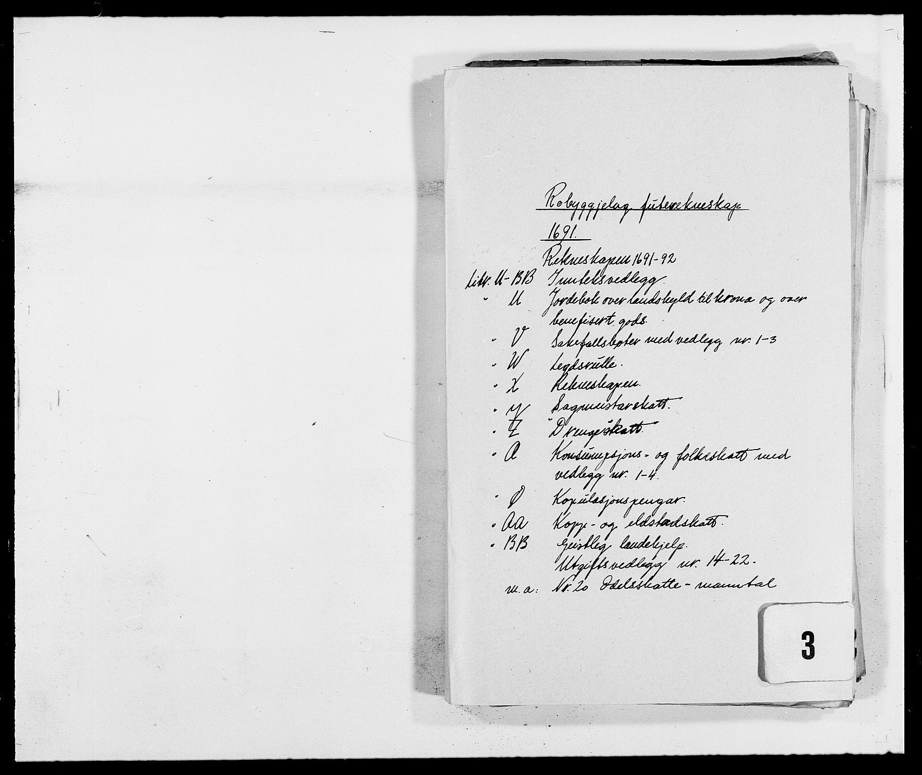 RA, Rentekammeret inntil 1814, Reviderte regnskaper, Fogderegnskap, R40/L2443: Fogderegnskap Råbyggelag, 1691-1692, s. 1