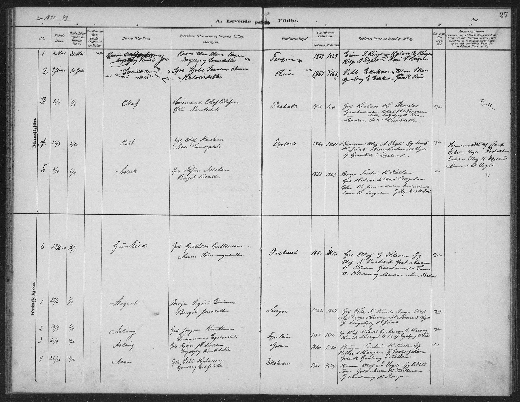 SAKO, Seljord kirkebøker, G/Gc/L0003: Klokkerbok nr. III 3, 1887-1926, s. 27