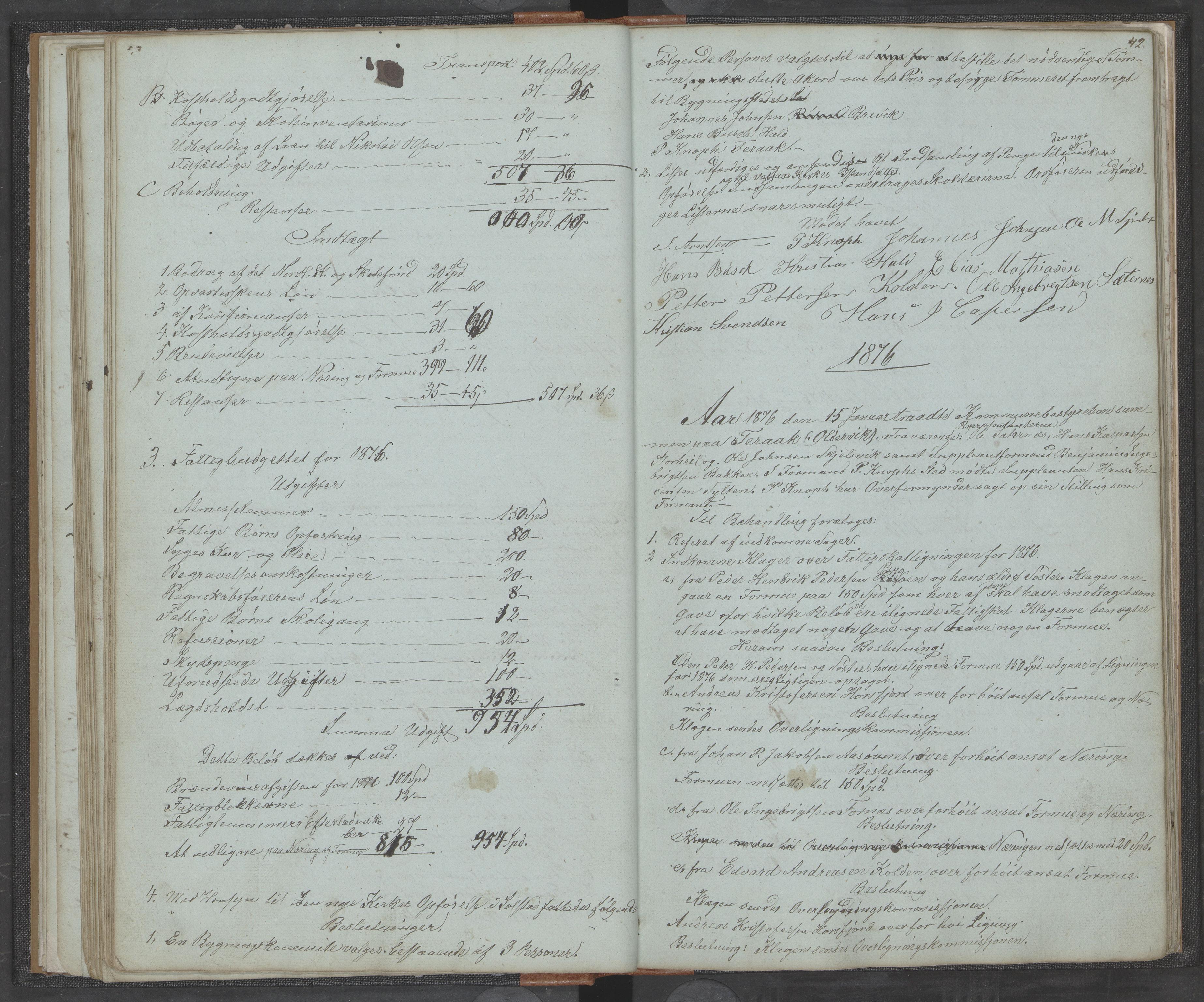 AIN, Bindal kommune. Formannskapet, A/Aa/L0000a: Møtebok, 1843-1881, s. 42