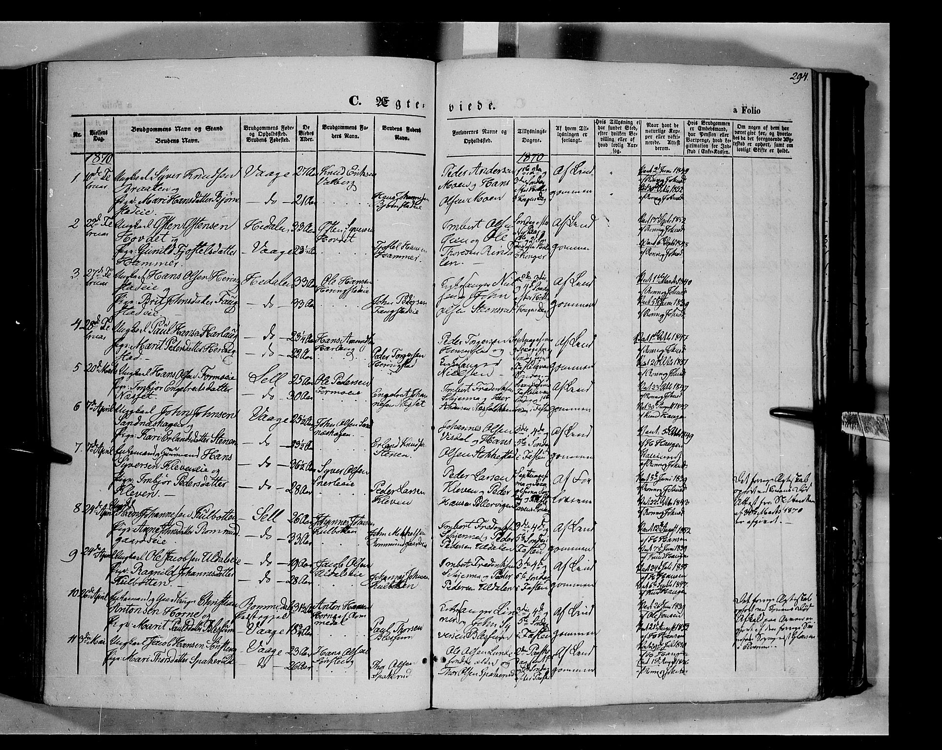 SAH, Vågå prestekontor, Ministerialbok nr. 6 /1, 1856-1872, s. 294