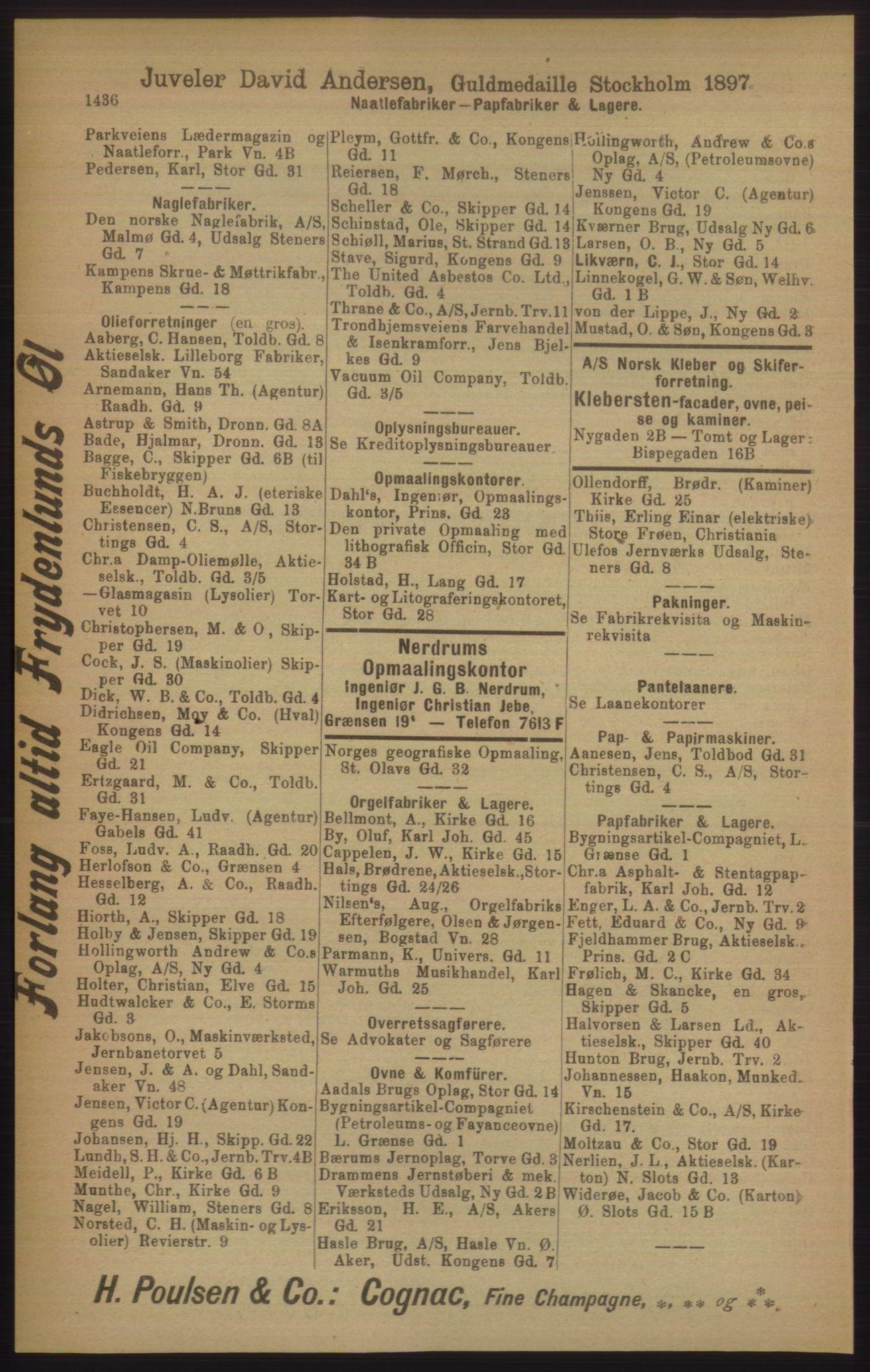 PUBL, Kristiania/Oslo adressebok, 1906, s. 1436