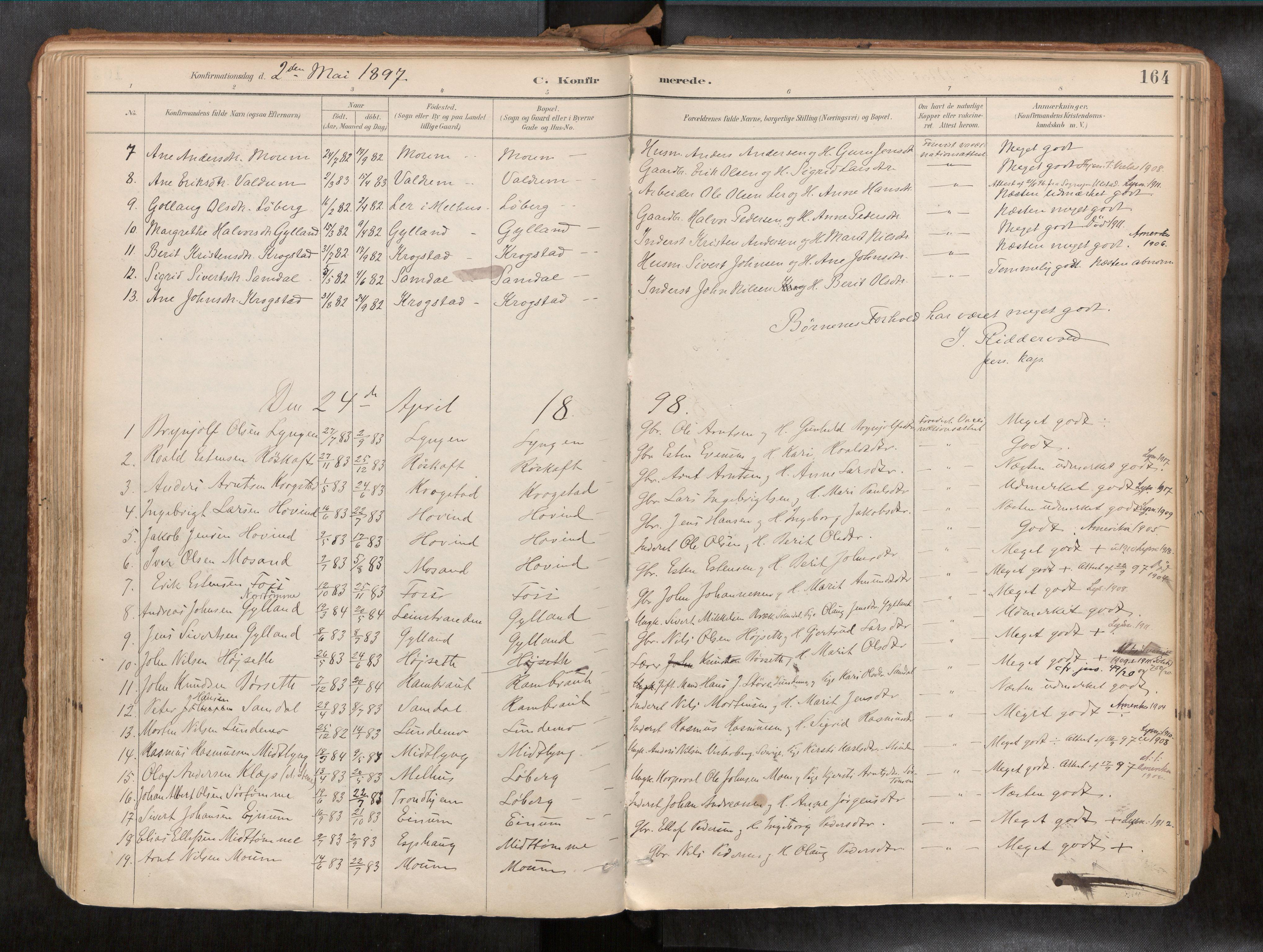SAT, Ministerialprotokoller, klokkerbøker og fødselsregistre - Sør-Trøndelag, 692/L1105b: Ministerialbok nr. 692A06, 1891-1934, s. 164