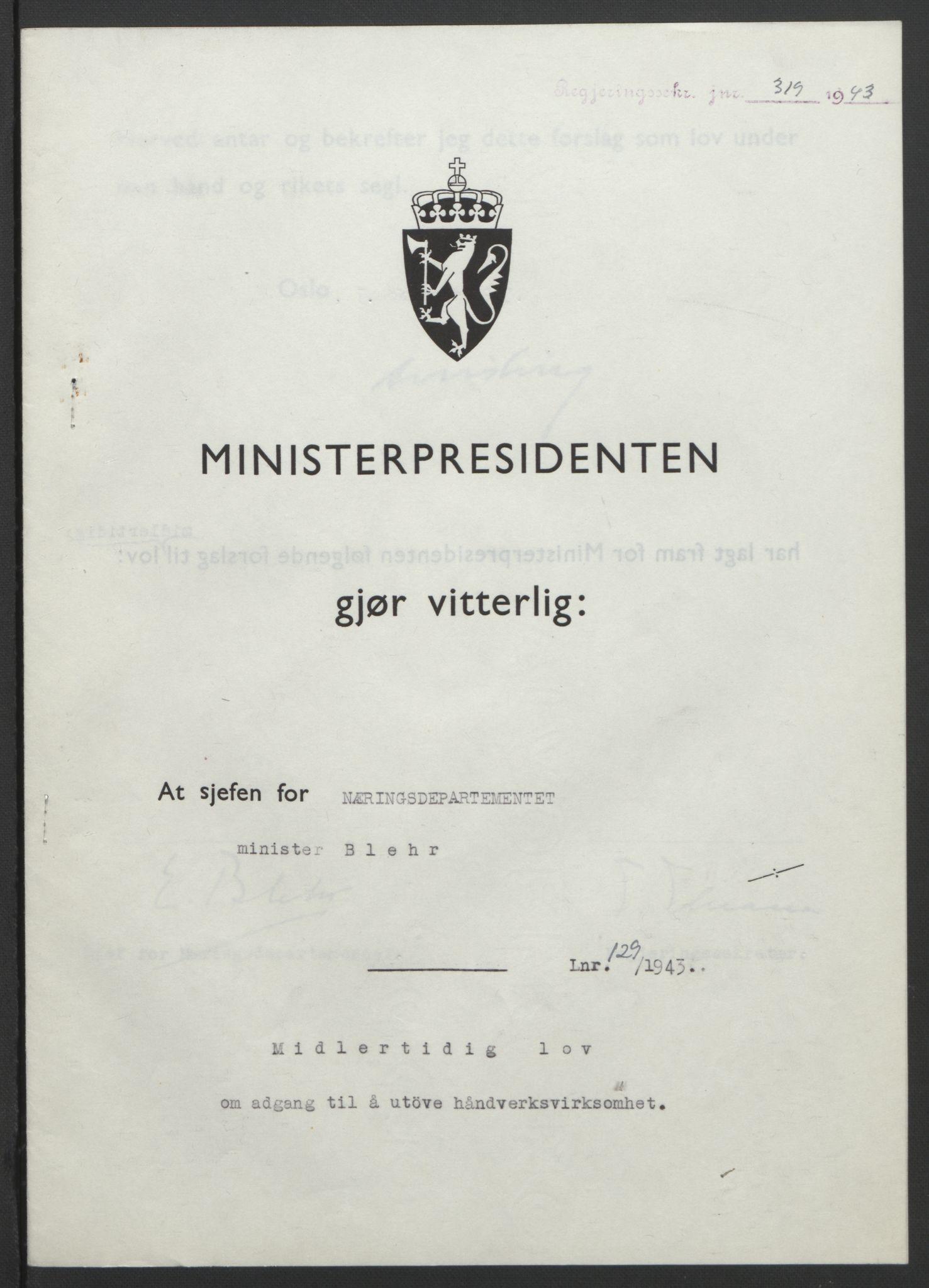 RA, NS-administrasjonen 1940-1945 (Statsrådsekretariatet, de kommisariske statsråder mm), D/Db/L0099: Lover, 1943, s. 604