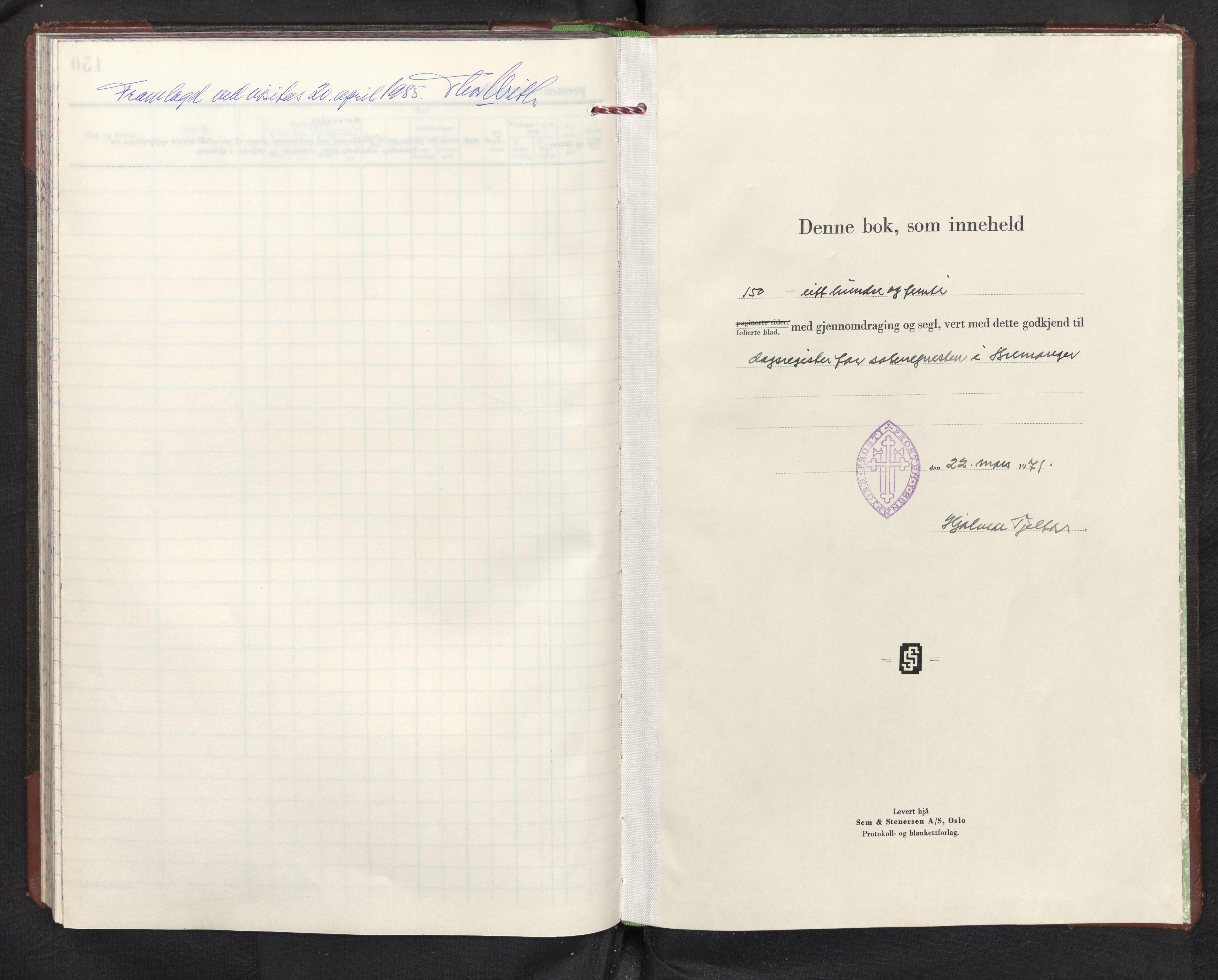 SAB, Bremanger Sokneprestembete, Dagregister nr. D 4, 1971-1982, s. 143b-144a