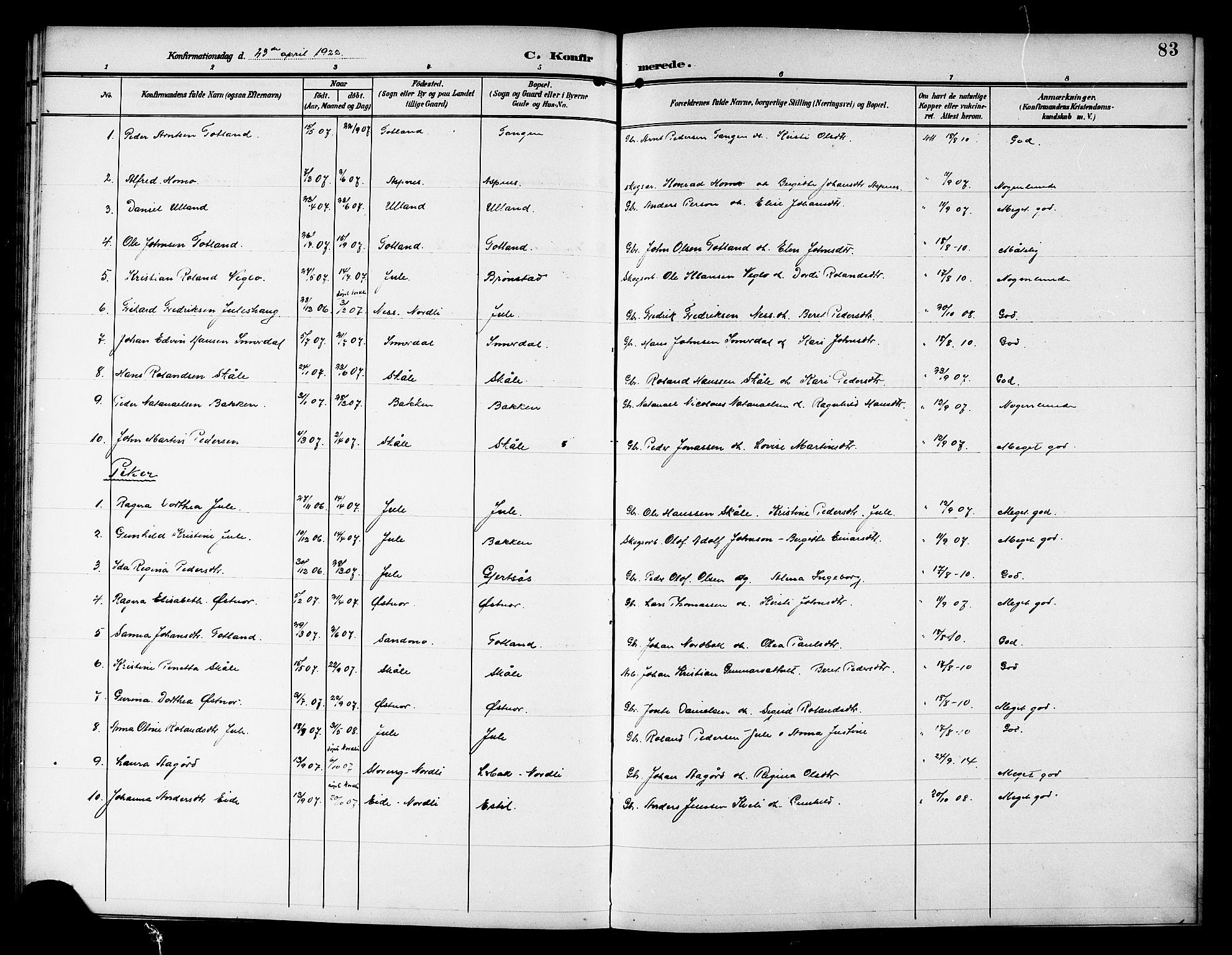 SAT, Ministerialprotokoller, klokkerbøker og fødselsregistre - Nord-Trøndelag, 757/L0506: Klokkerbok nr. 757C01, 1904-1922, s. 83