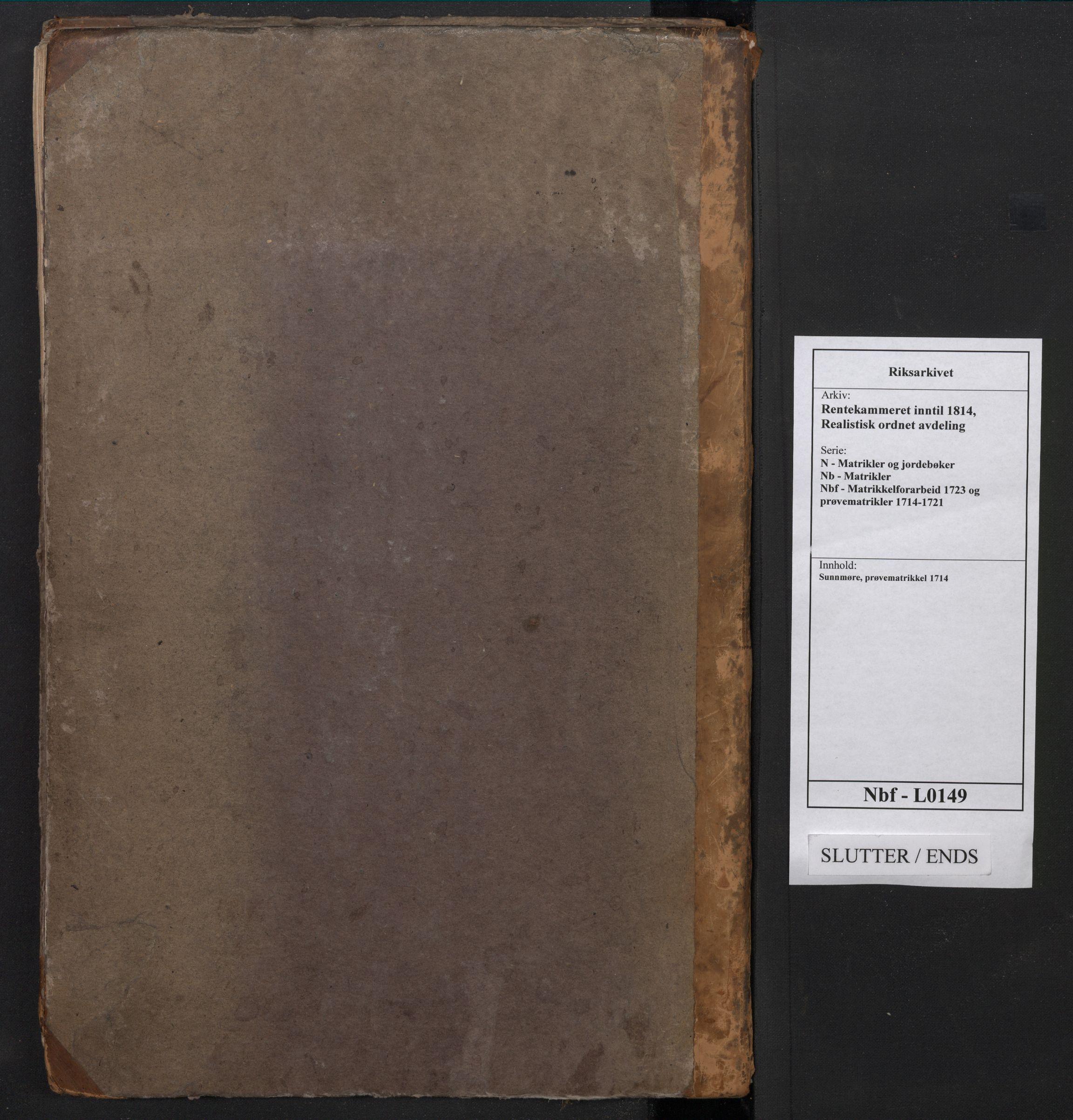 RA, Rentekammeret inntil 1814, Realistisk ordnet avdeling, N/Nb/Nbf/L0149: Sunnmøre, prøvematrikkel, 1714, s. upaginert