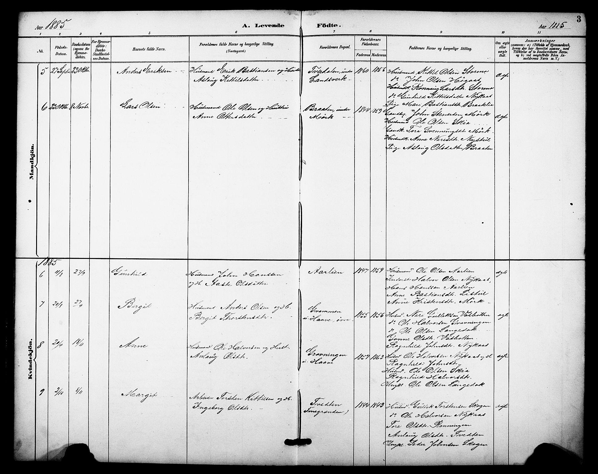 SAKO, Heddal kirkebøker, F/Fb/L0001: Ministerialbok nr. II 1, 1884-1910, s. 3