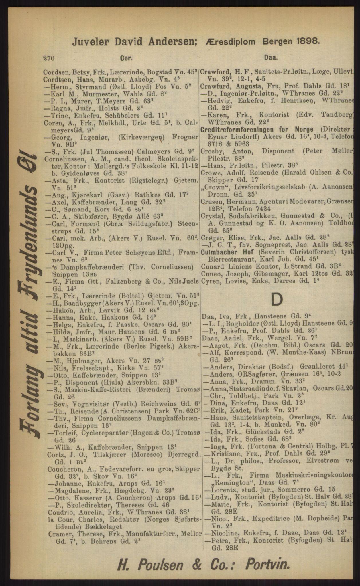 RA, Kristiania adressebok (publikasjon)*, 1903, s. 270