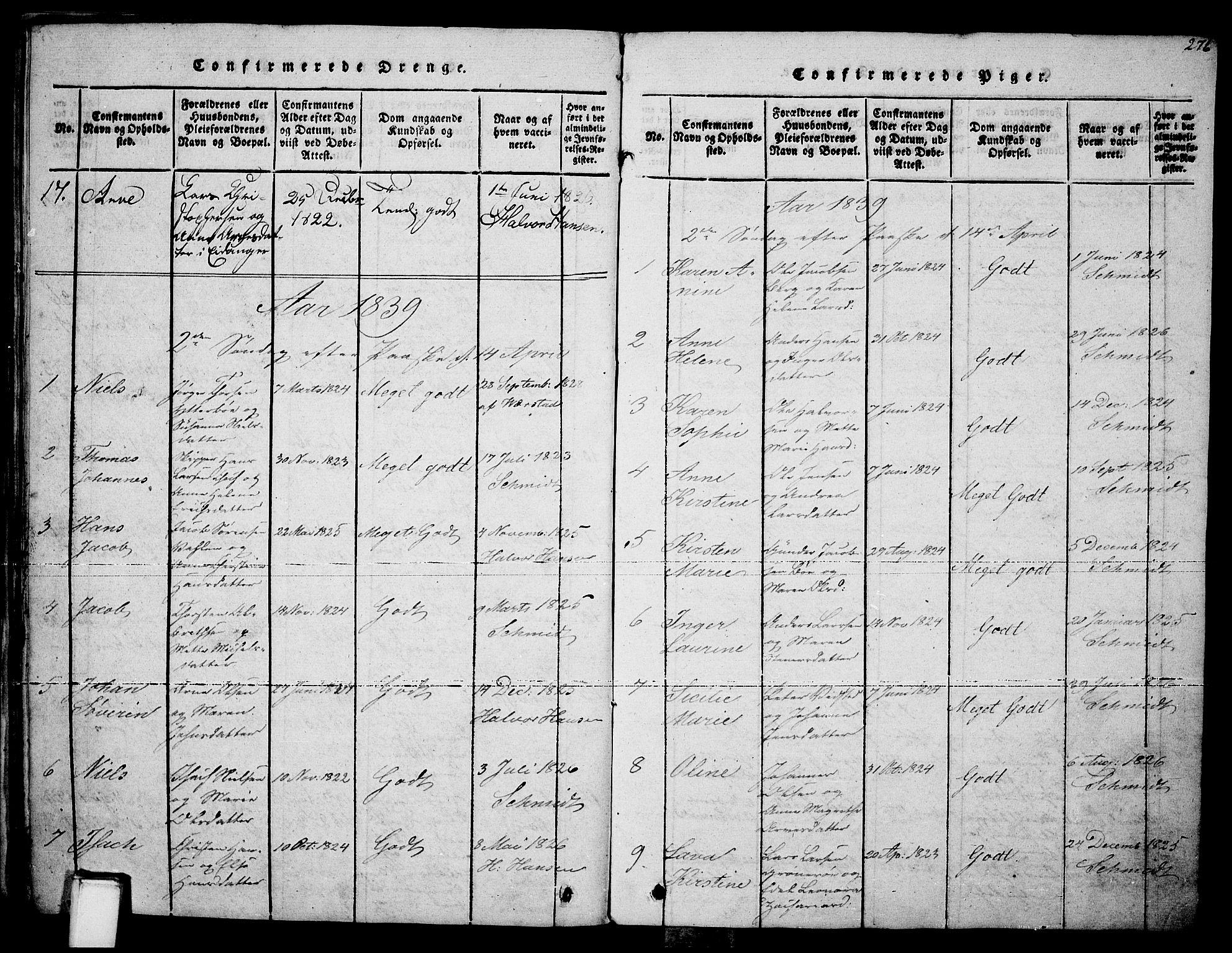 SAKO, Brevik kirkebøker, F/Fa/L0004: Ministerialbok nr. 4, 1814-1846, s. 276