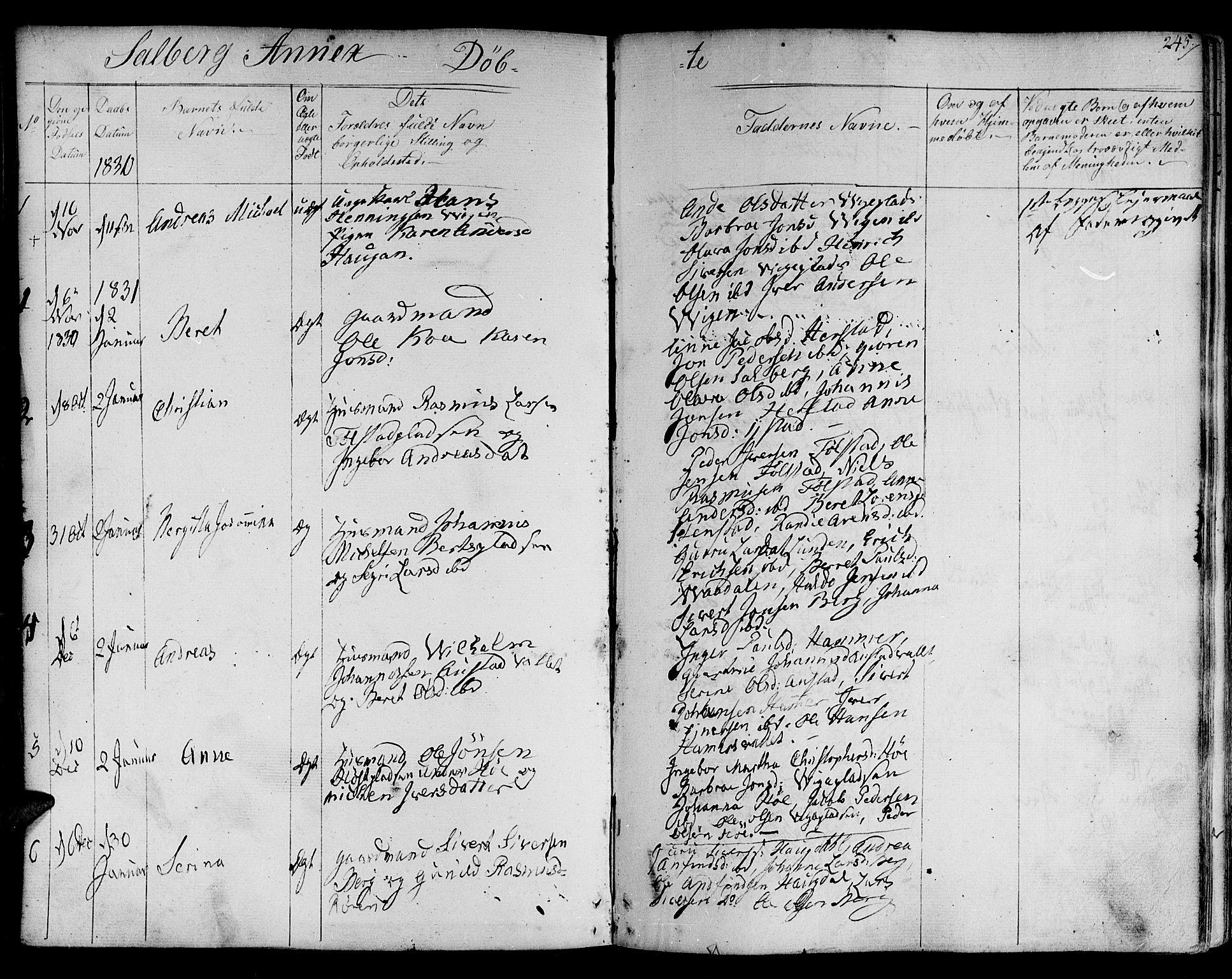 SAT, Ministerialprotokoller, klokkerbøker og fødselsregistre - Nord-Trøndelag, 730/L0277: Ministerialbok nr. 730A06 /2, 1831-1839, s. 245