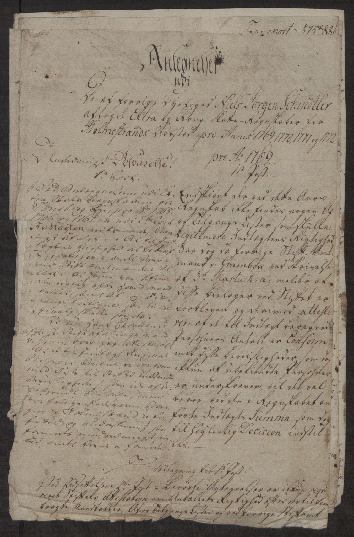 RA, Rentekammeret inntil 1814, Reviderte regnskaper, Byregnskaper, R/Rh/L0163: [H4] Kontribusjonsregnskap, 1762-1772, s. 436