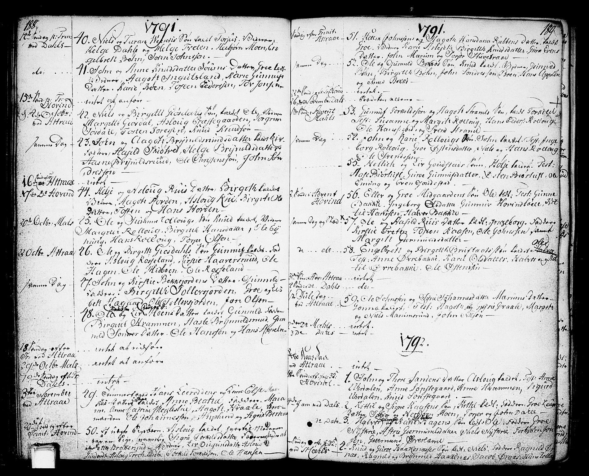 SAKO, Tinn kirkebøker, F/Fa/L0002: Ministerialbok nr. I 2, 1757-1810, s. 188-189