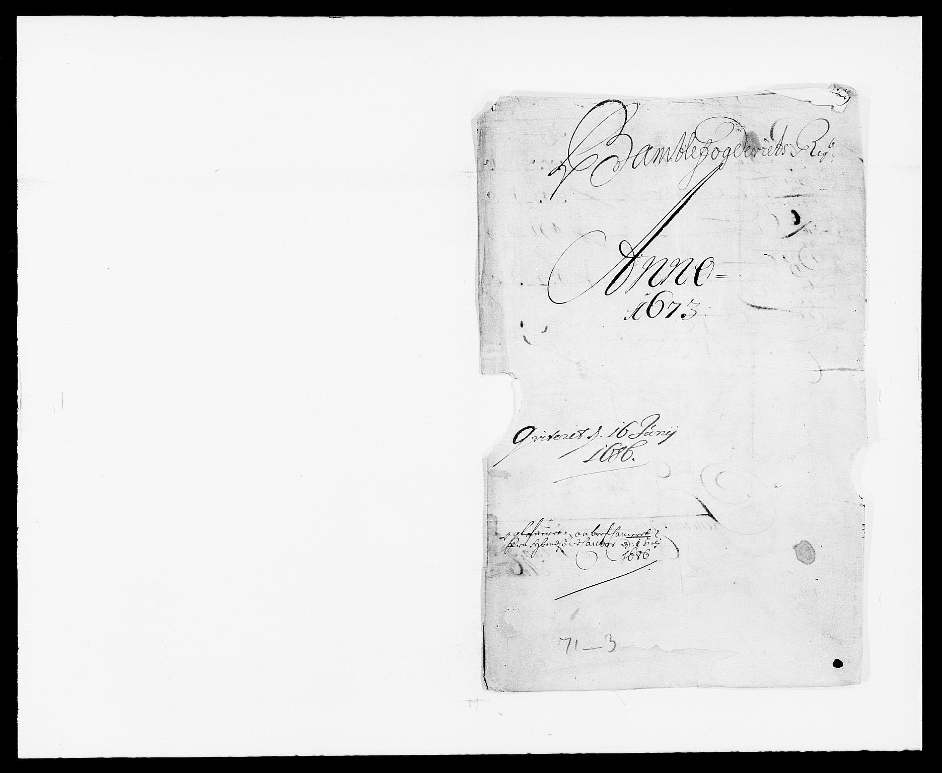 RA, Rentekammeret inntil 1814, Reviderte regnskaper, Fogderegnskap, R34/L2042: Fogderegnskap Bamble, 1673-1675, s. 1