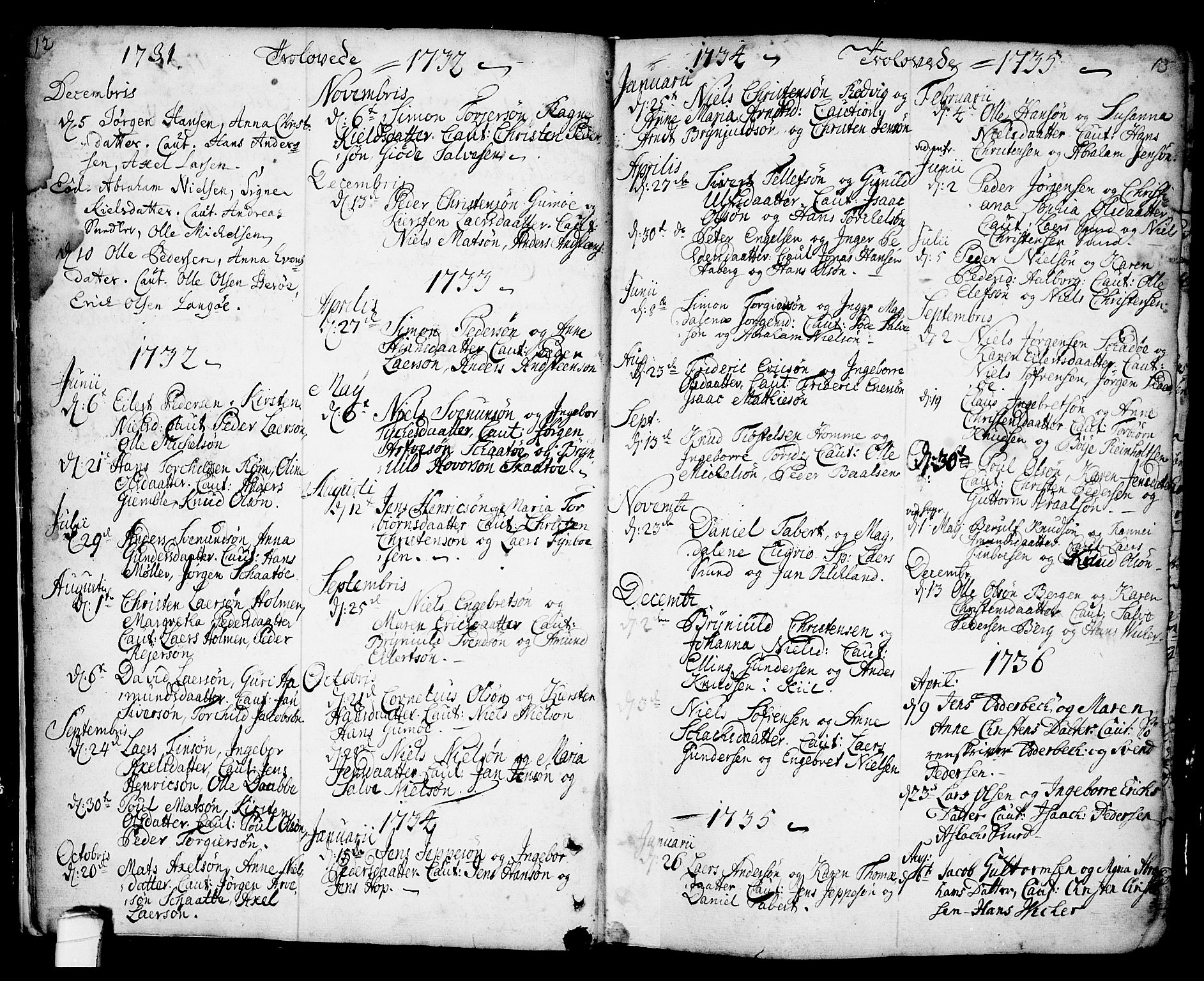 SAKO, Kragerø kirkebøker, F/Fa/L0001: Ministerialbok nr. 1, 1702-1766, s. 12-13