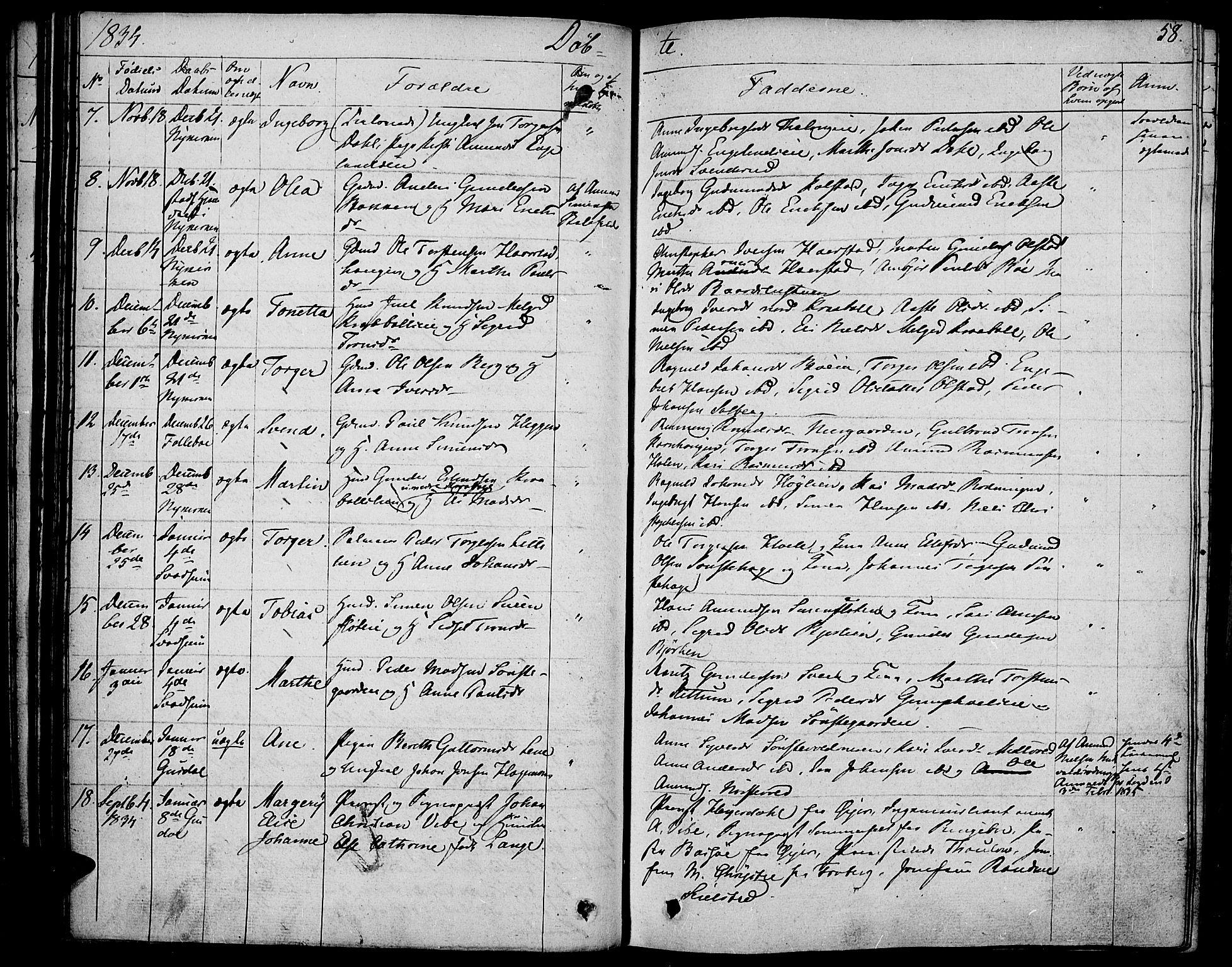 SAH, Gausdal prestekontor, Ministerialbok nr. 6, 1830-1839, s. 58