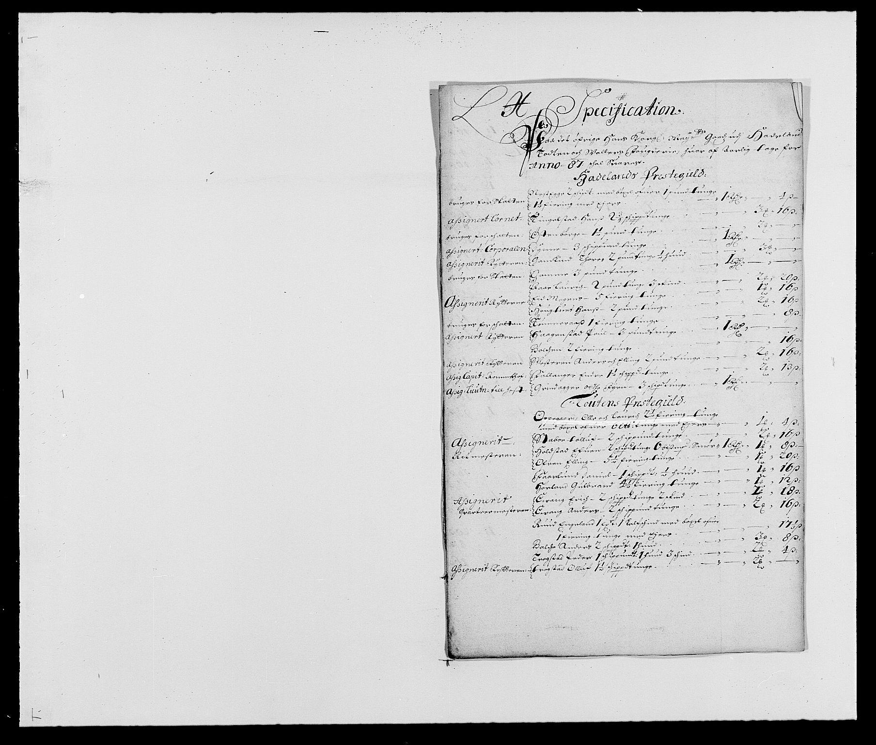 RA, Rentekammeret inntil 1814, Reviderte regnskaper, Fogderegnskap, R18/L1286: Fogderegnskap Hadeland, Toten og Valdres, 1687, s. 147