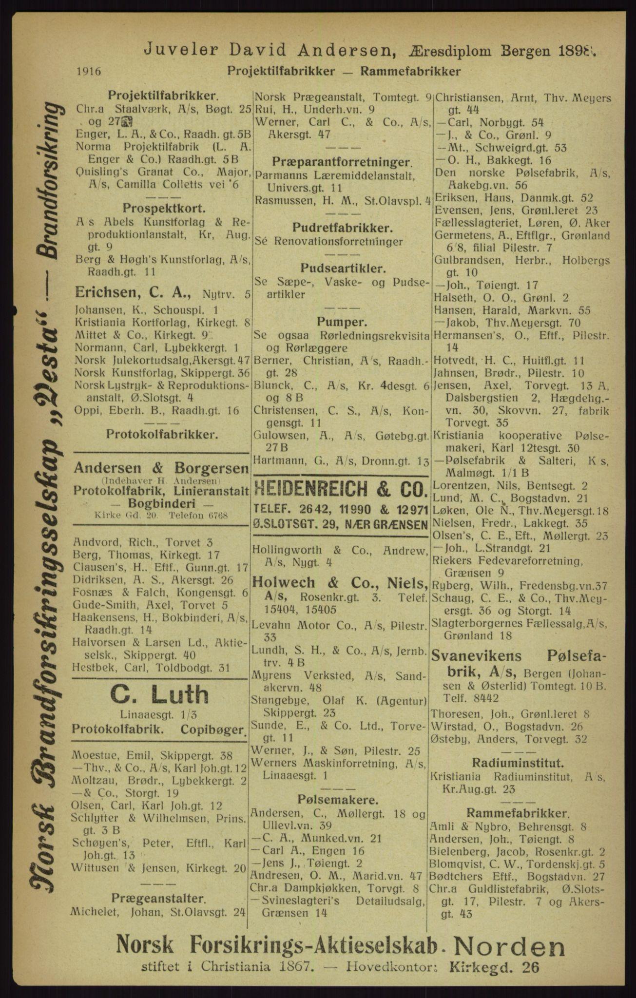 RA, Kristiania adressebok (publikasjon)*, 1916, s. 1916