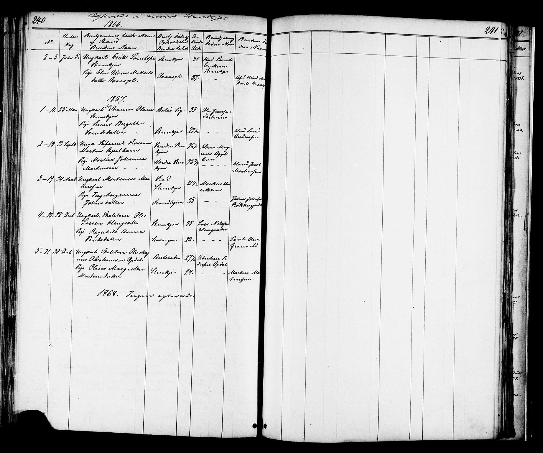 SAT, Ministerialprotokoller, klokkerbøker og fødselsregistre - Nord-Trøndelag, 739/L0367: Ministerialbok nr. 739A01 /2, 1838-1868, s. 240-241