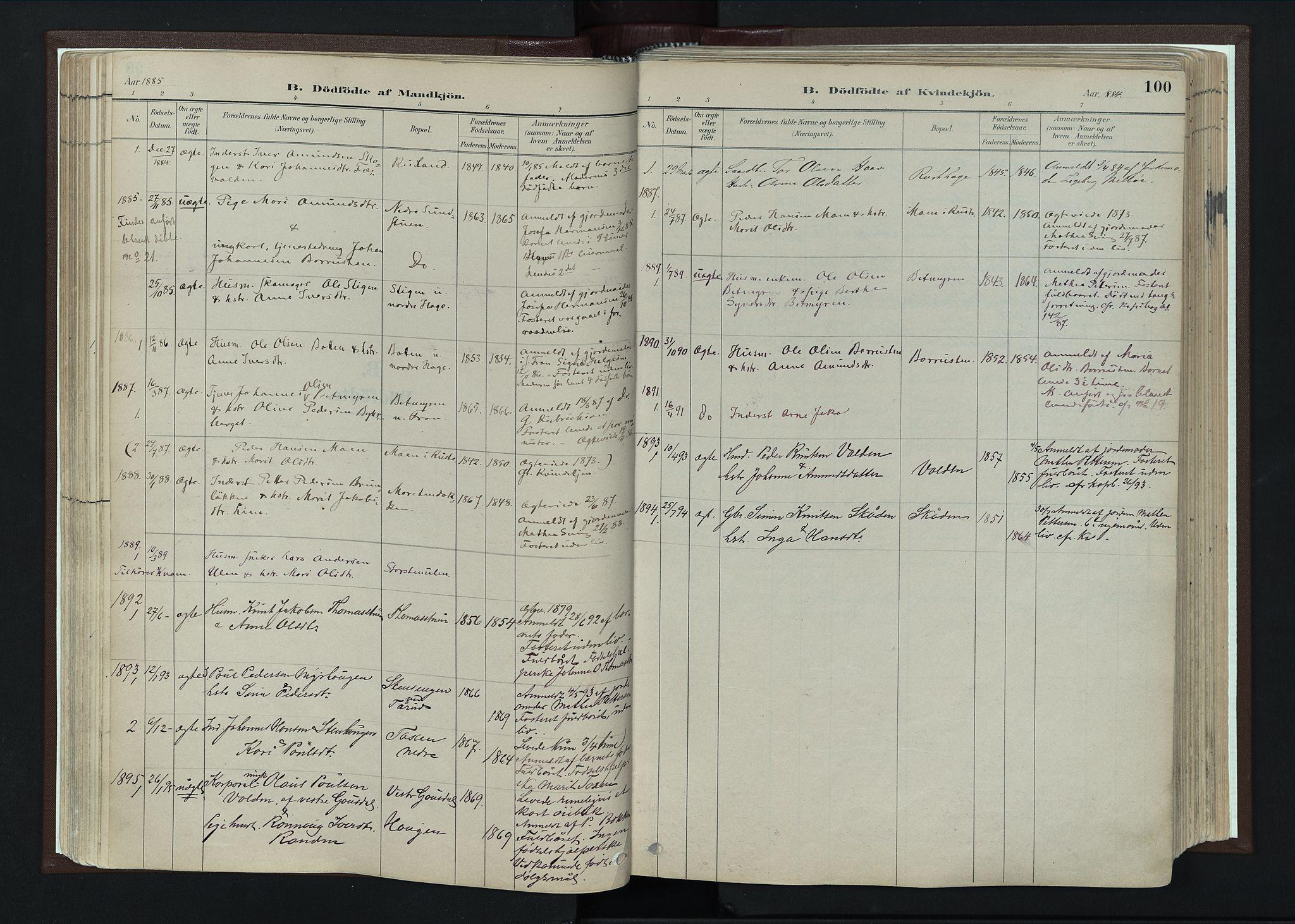 SAH, Nord-Fron prestekontor, Ministerialbok nr. 4, 1884-1914, s. 100