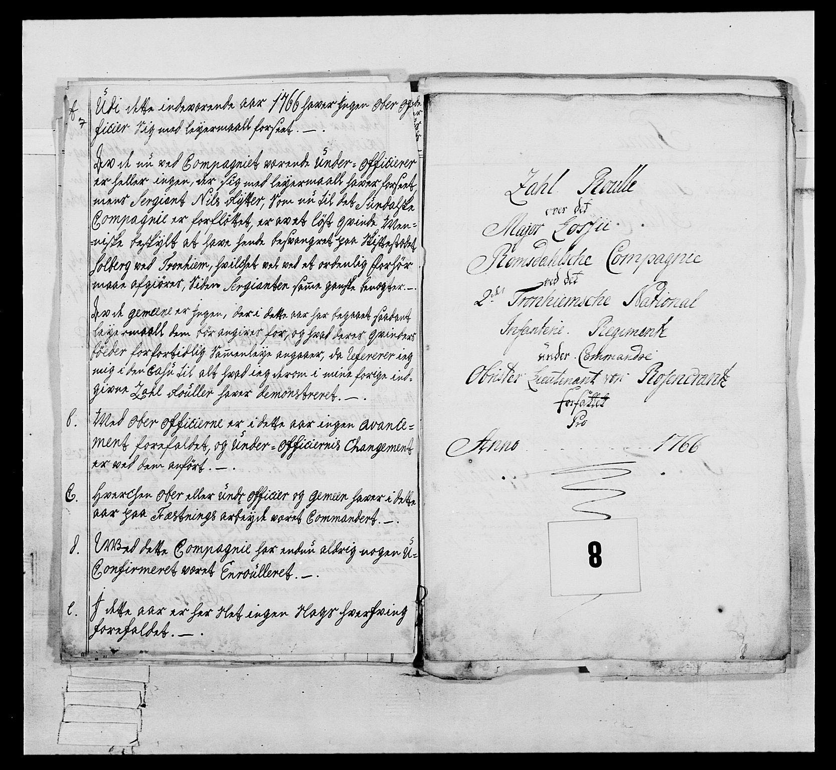 RA, Generalitets- og kommissariatskollegiet, Det kongelige norske kommissariatskollegium, E/Eh/L0076: 2. Trondheimske nasjonale infanteriregiment, 1766-1773, s. 20