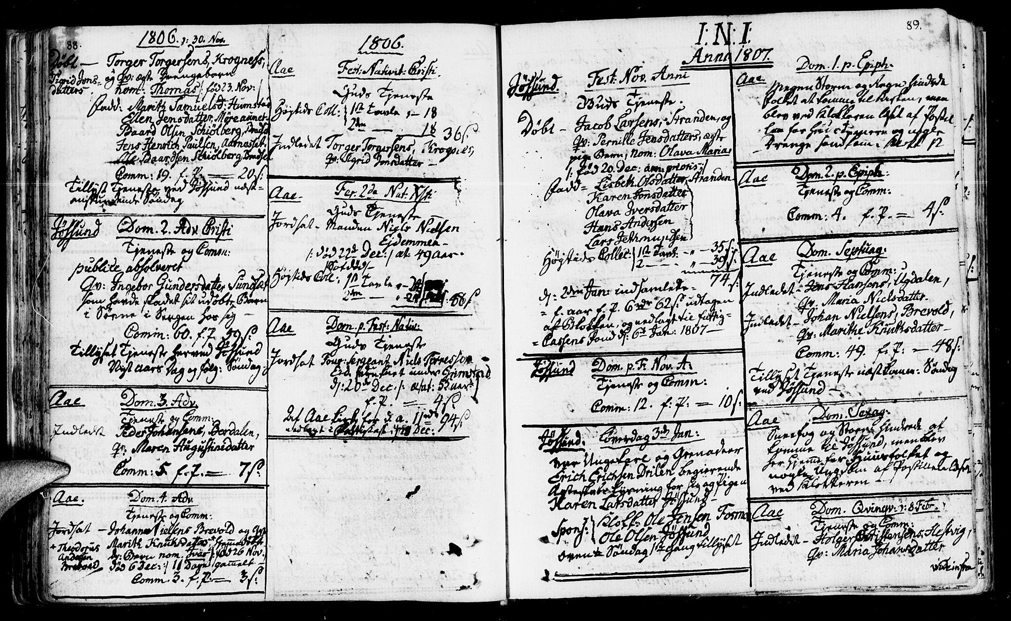 SAT, Ministerialprotokoller, klokkerbøker og fødselsregistre - Sør-Trøndelag, 655/L0674: Ministerialbok nr. 655A03, 1802-1826, s. 88-89