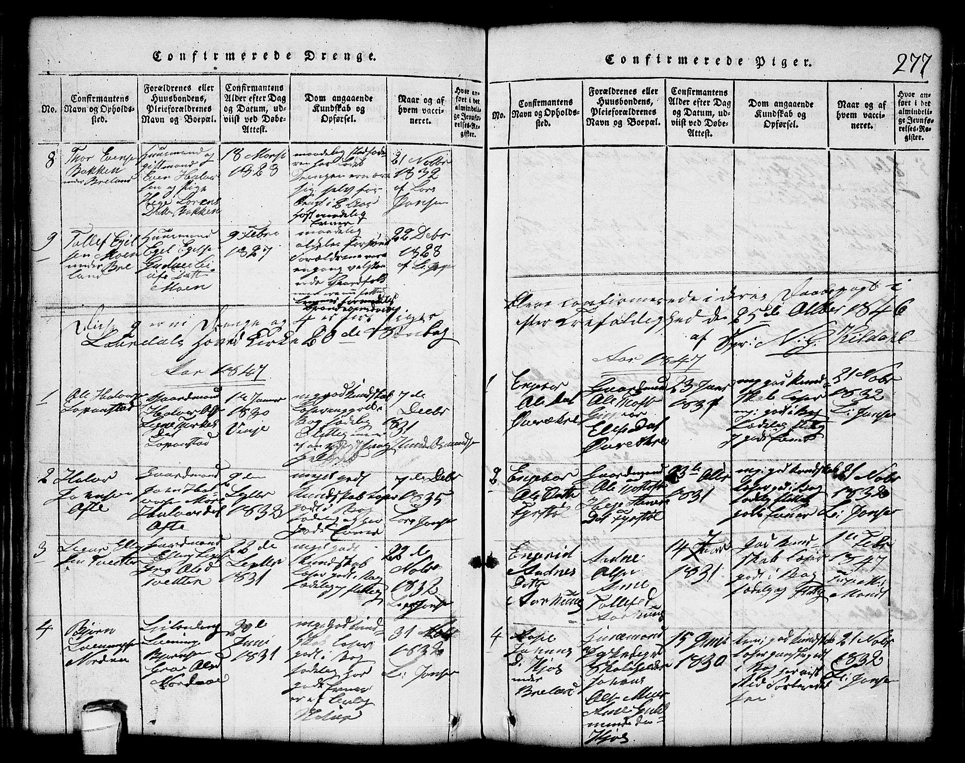 SAKO, Lårdal kirkebøker, G/Gc/L0001: Klokkerbok nr. III 1, 1815-1854, s. 277