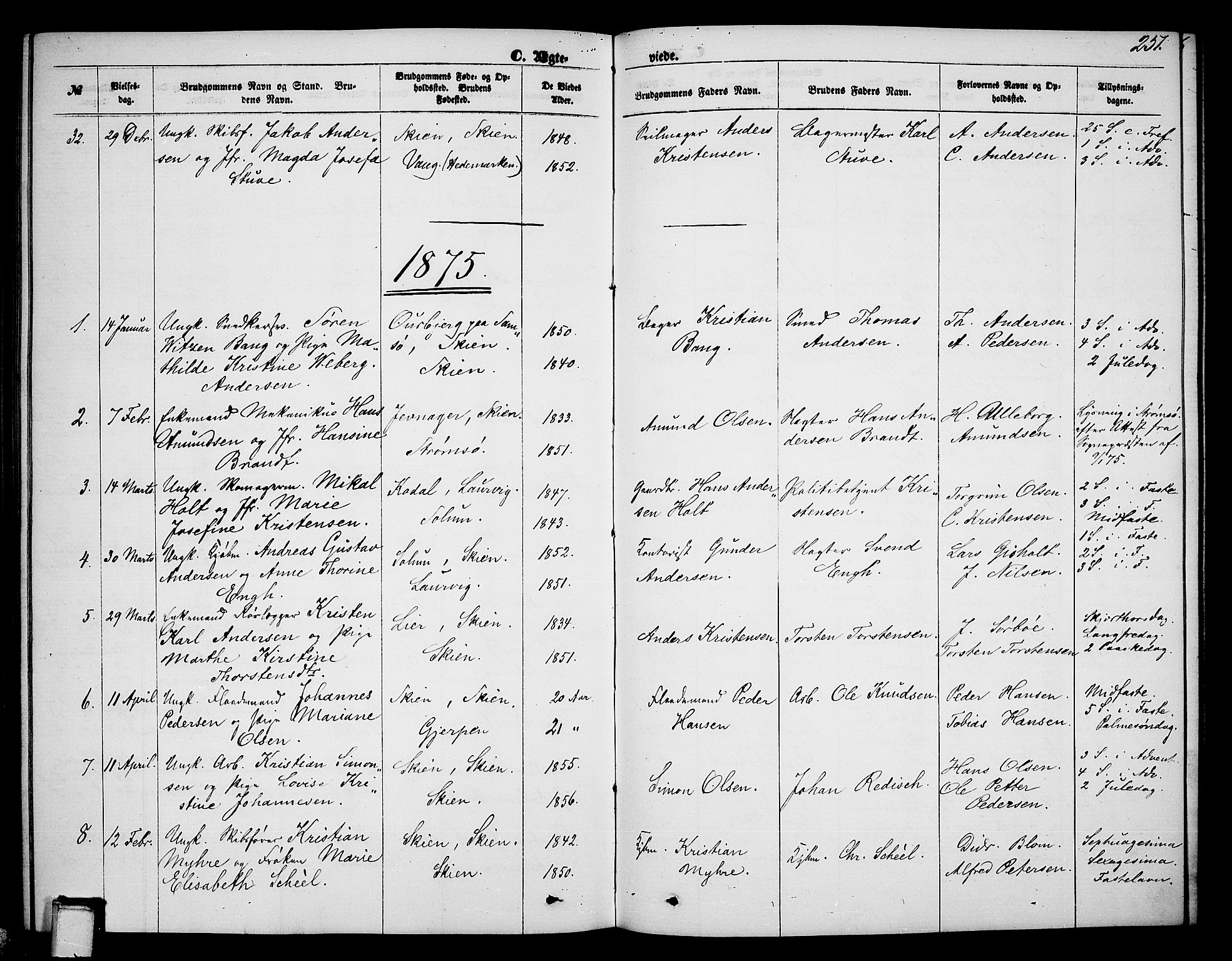 SAKO, Skien kirkebøker, G/Ga/L0005: Klokkerbok nr. 5, 1868-1880, s. 251
