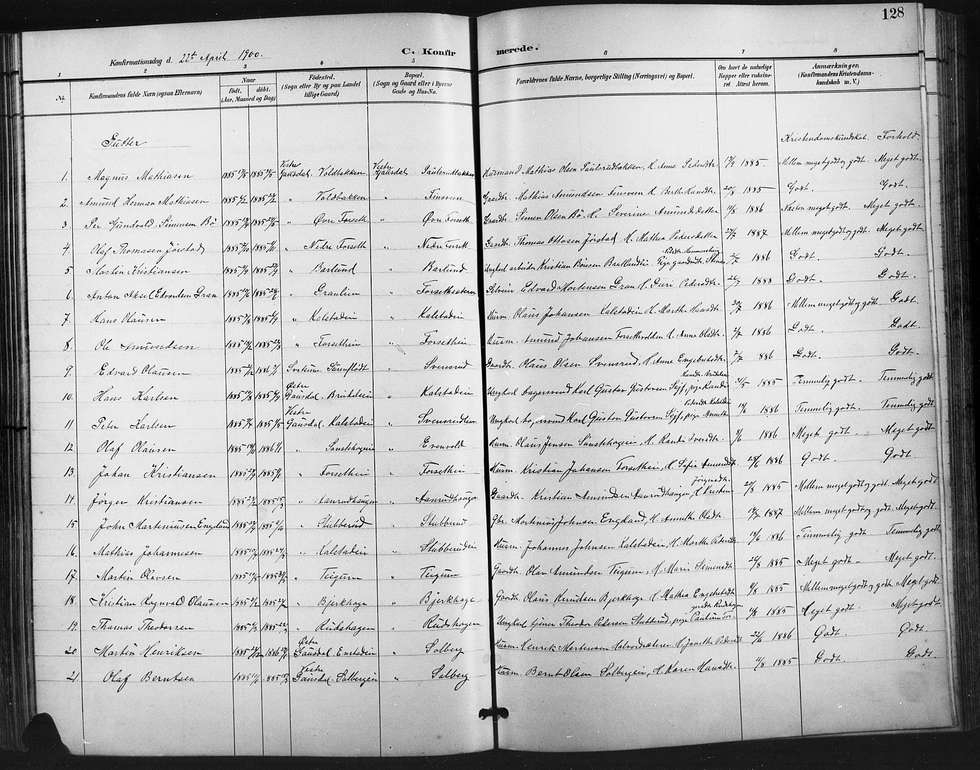 SAH, Vestre Gausdal prestekontor, Klokkerbok nr. 3, 1896-1925, s. 128