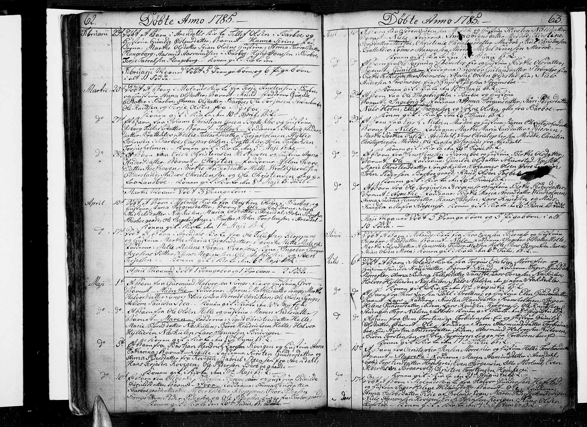 SAK, Tromøy sokneprestkontor, F/Fa/L0002: Ministerialbok nr. A 2, 1773-1808, s. 62-63
