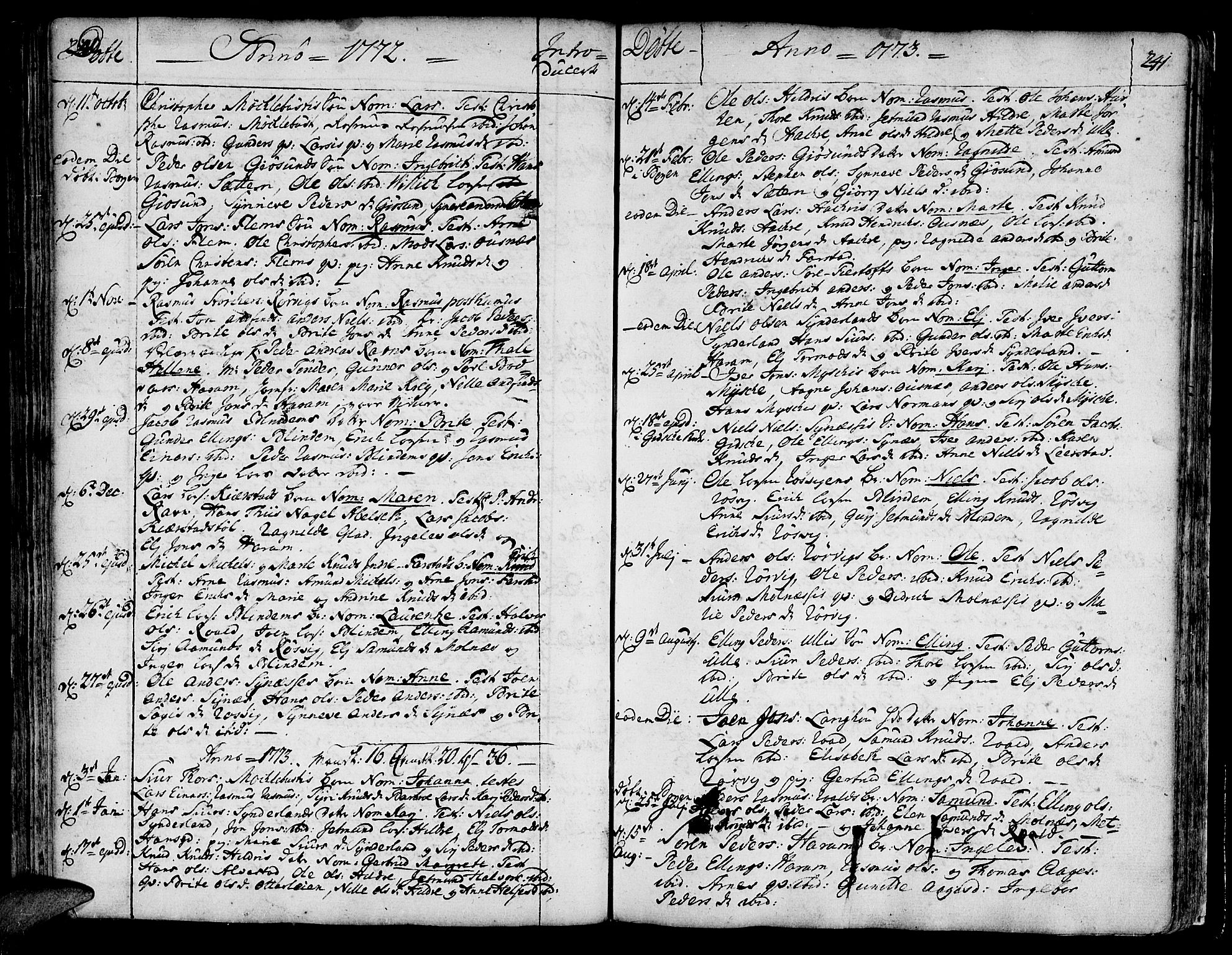 SAT, Ministerialprotokoller, klokkerbøker og fødselsregistre - Møre og Romsdal, 536/L0493: Ministerialbok nr. 536A02, 1739-1802, s. 240-241