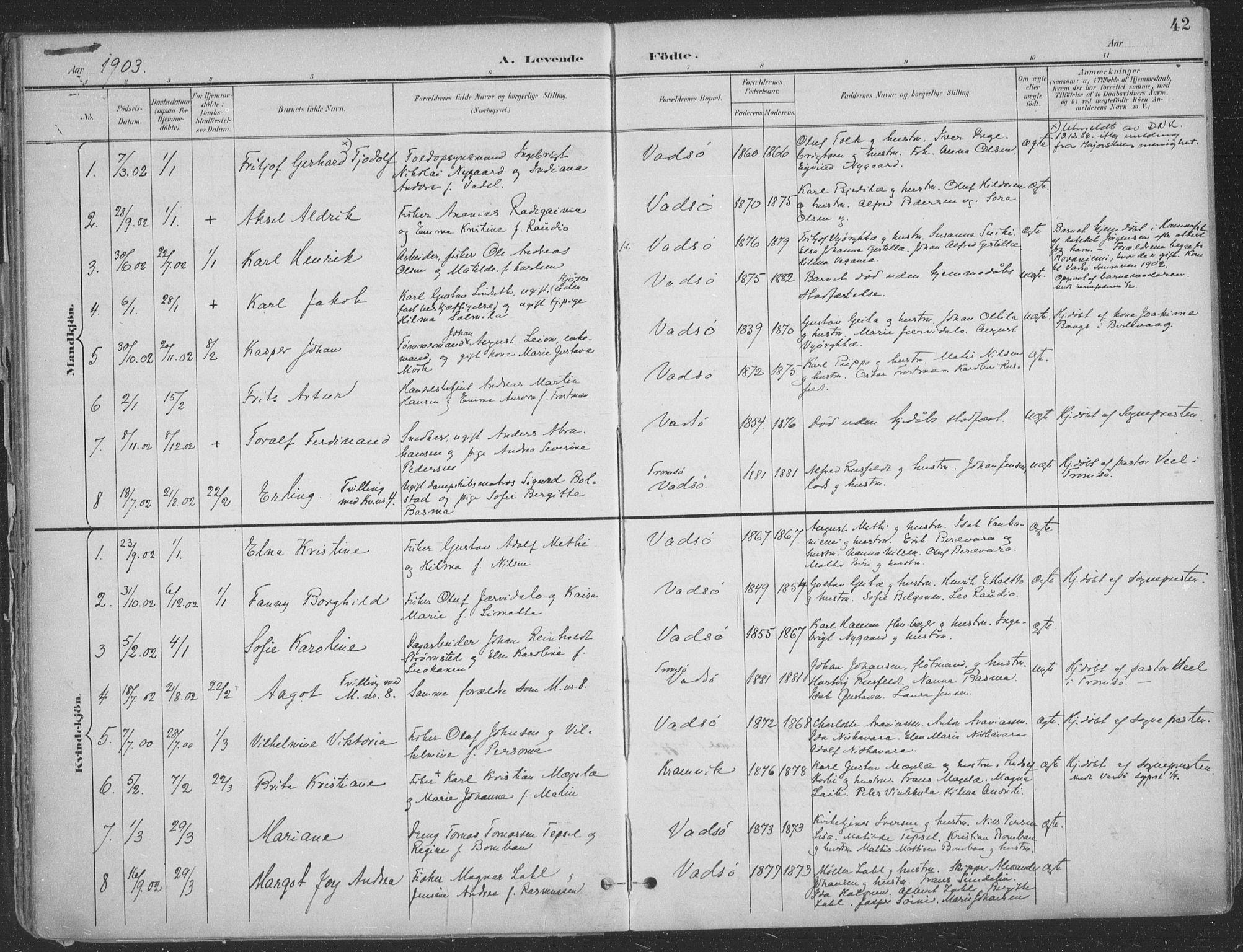 SATØ, Vadsø sokneprestkontor, H/Ha/L0007kirke: Ministerialbok nr. 7, 1896-1916, s. 42