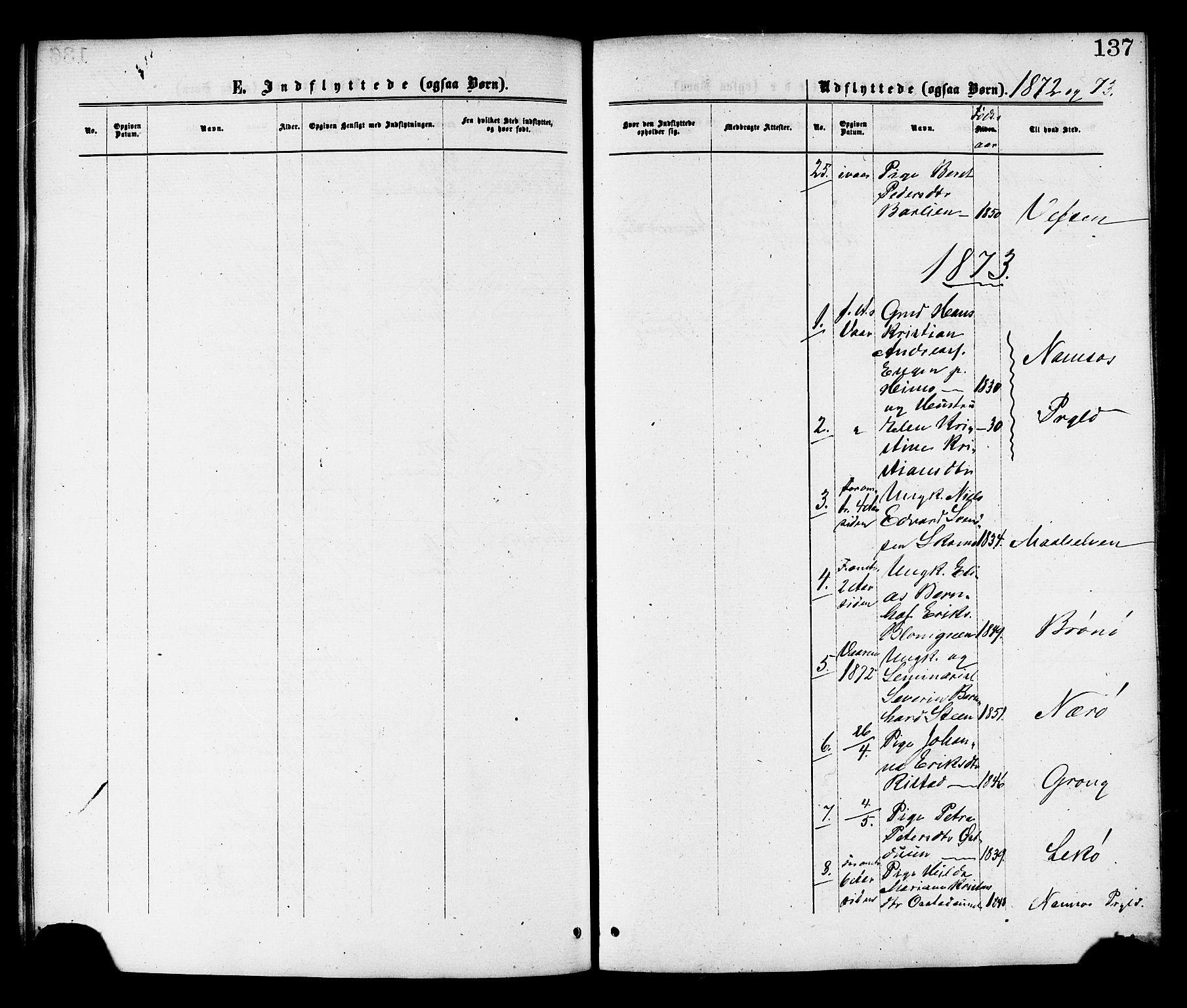 SAT, Ministerialprotokoller, klokkerbøker og fødselsregistre - Nord-Trøndelag, 764/L0554: Ministerialbok nr. 764A09, 1867-1880, s. 137