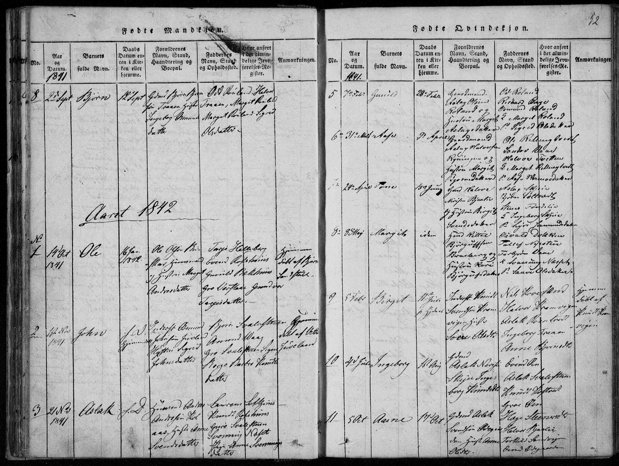 SAKO, Rauland kirkebøker, F/Fa/L0001: Ministerialbok nr. 1, 1814-1859, s. 52