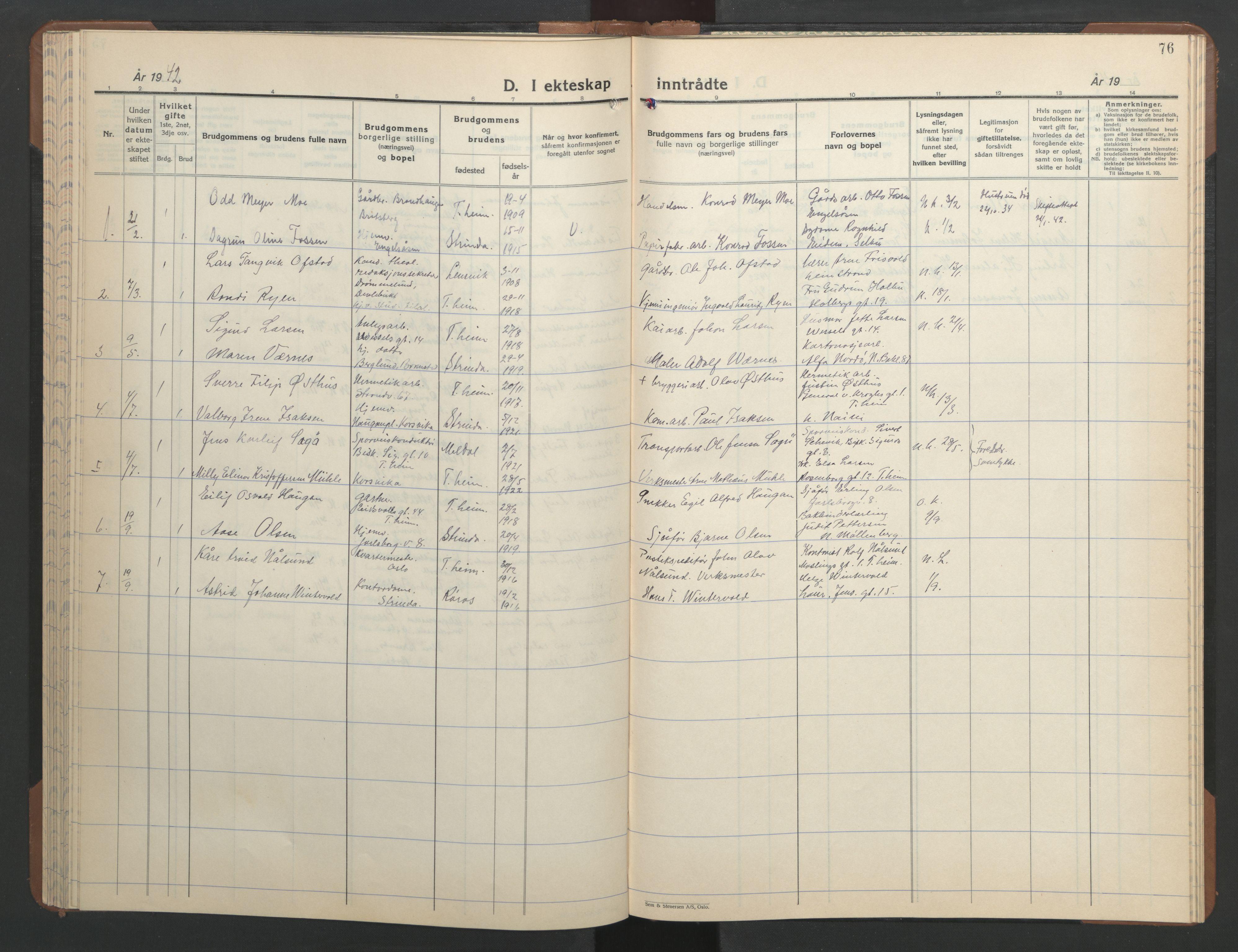 SAT, Ministerialprotokoller, klokkerbøker og fødselsregistre - Sør-Trøndelag, 606/L0315: Klokkerbok nr. 606C11, 1938-1947, s. 76