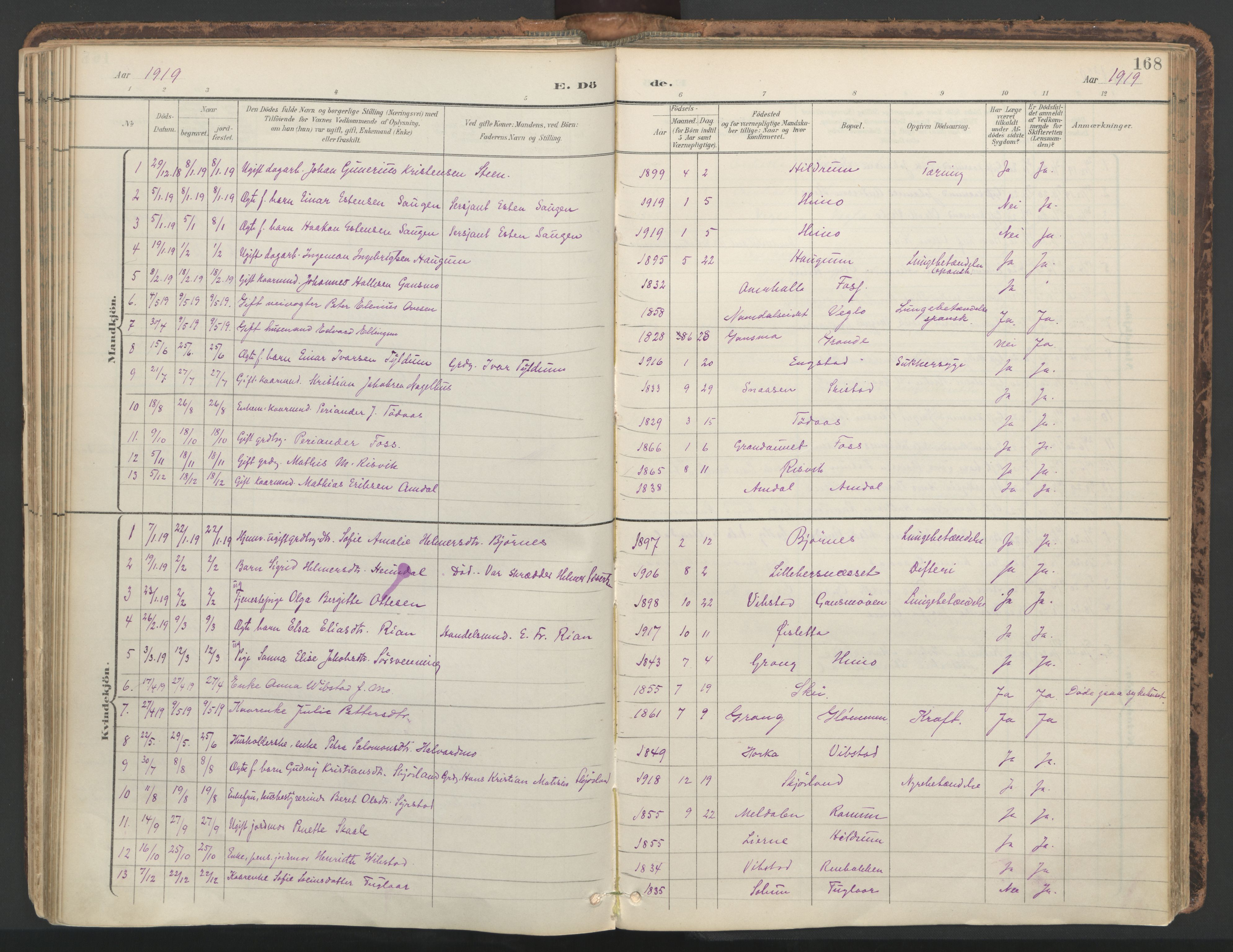 SAT, Ministerialprotokoller, klokkerbøker og fødselsregistre - Nord-Trøndelag, 764/L0556: Ministerialbok nr. 764A11, 1897-1924, s. 168