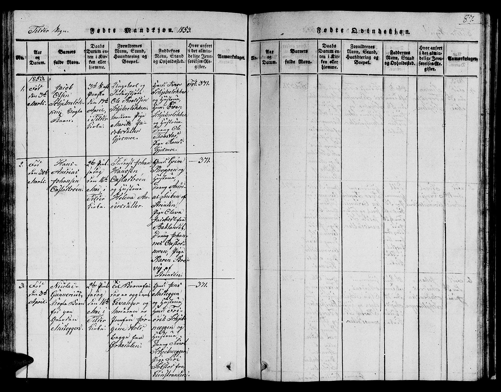 SAT, Ministerialprotokoller, klokkerbøker og fødselsregistre - Sør-Trøndelag, 621/L0458: Klokkerbok nr. 621C01, 1816-1865, s. 87