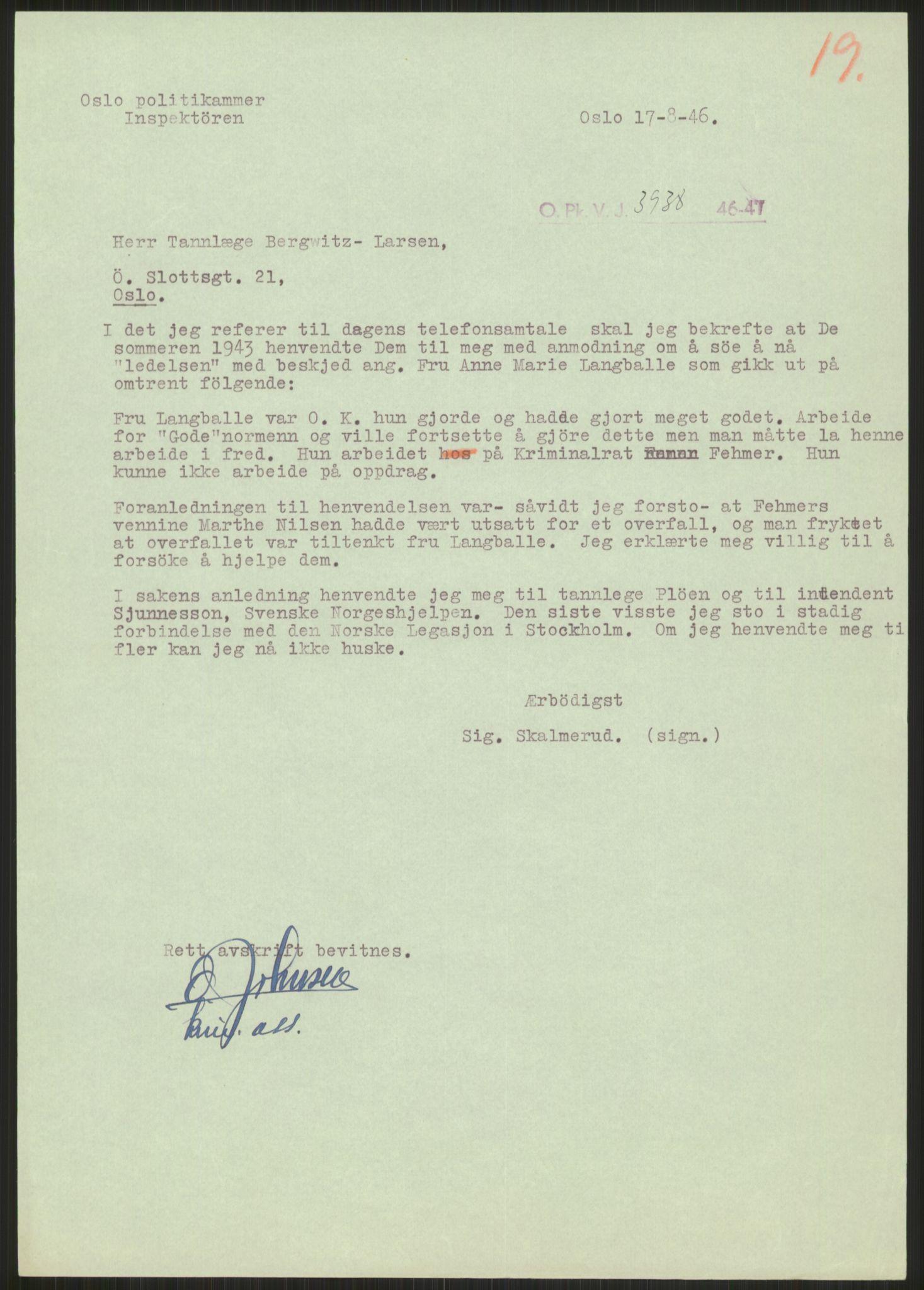 RA, Landssvikarkivet, Oslo politikammer, D/Dg/L0267: Henlagt hnr. 3658, 1945-1946, s. 270