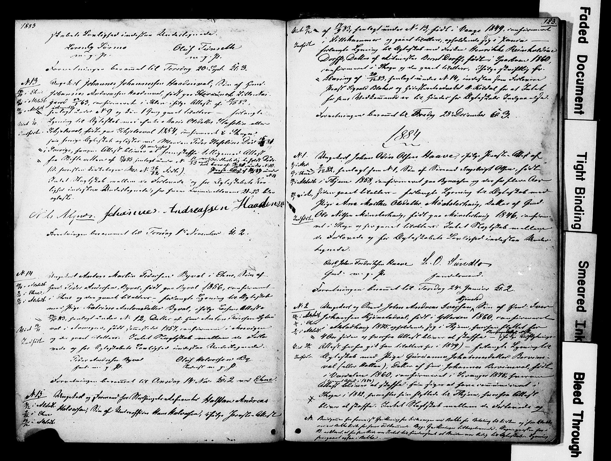 SAT, Ministerialprotokoller, klokkerbøker og fødselsregistre - Nord-Trøndelag, 717/L0161: Forlovererklæringer nr. 717A11, 1850-1895, s. 123