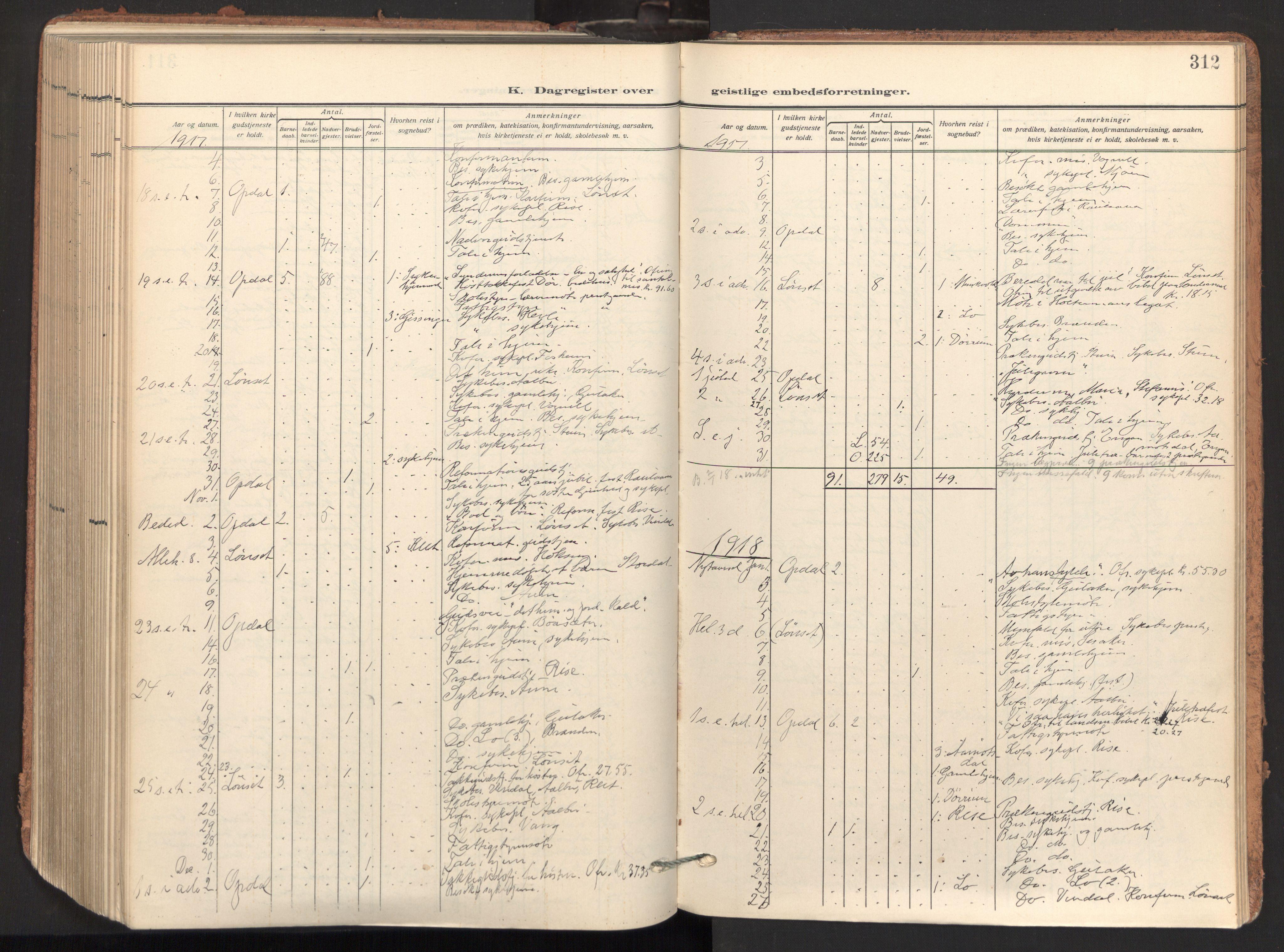 SAT, Ministerialprotokoller, klokkerbøker og fødselsregistre - Sør-Trøndelag, 678/L0909: Ministerialbok nr. 678A17, 1912-1930, s. 312