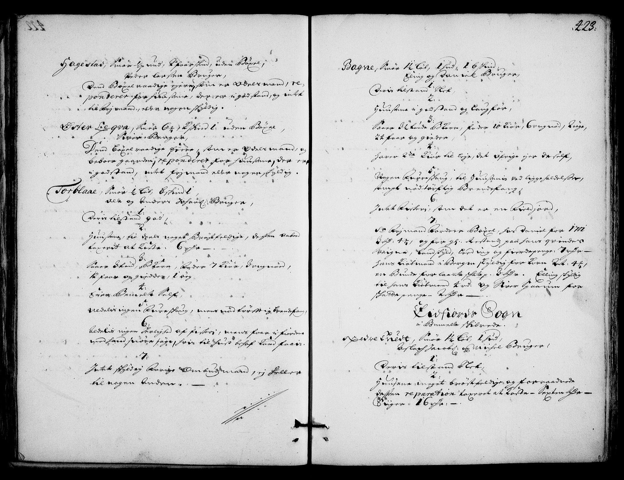 RA, Rentekammeret inntil 1814, Realistisk ordnet avdeling, On/L0002: [Jj 3]: Besiktigelsesforretninger over Halsnøy klosters gods, 1659-1703, s. 422b-423a