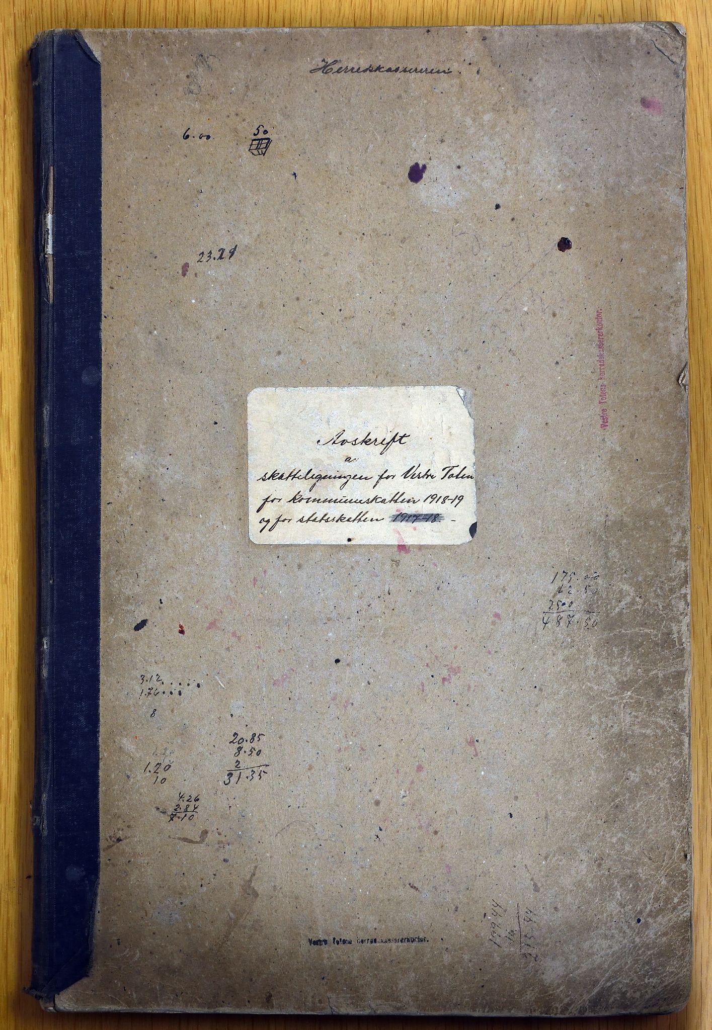 KVT, Vestre Toten kommunearkiv: Avskrift av ligningsprotokollen for budsjettåret 1918-1919 for Vestre Toten skattedistrikt, 1918-1919