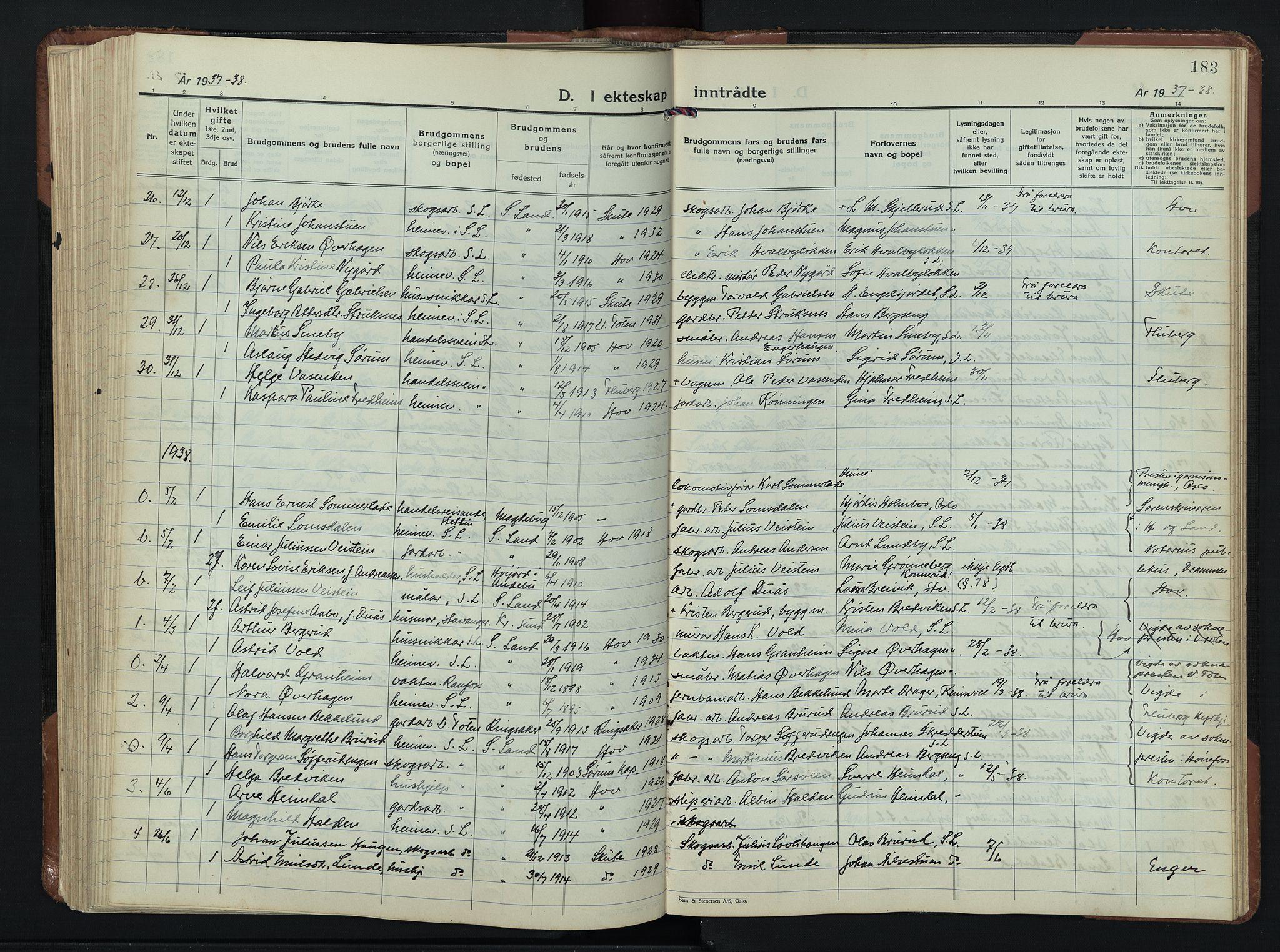 SAH, Søndre Land prestekontor, L/L0009: Klokkerbok nr. 9, 1933-1954, s. 183