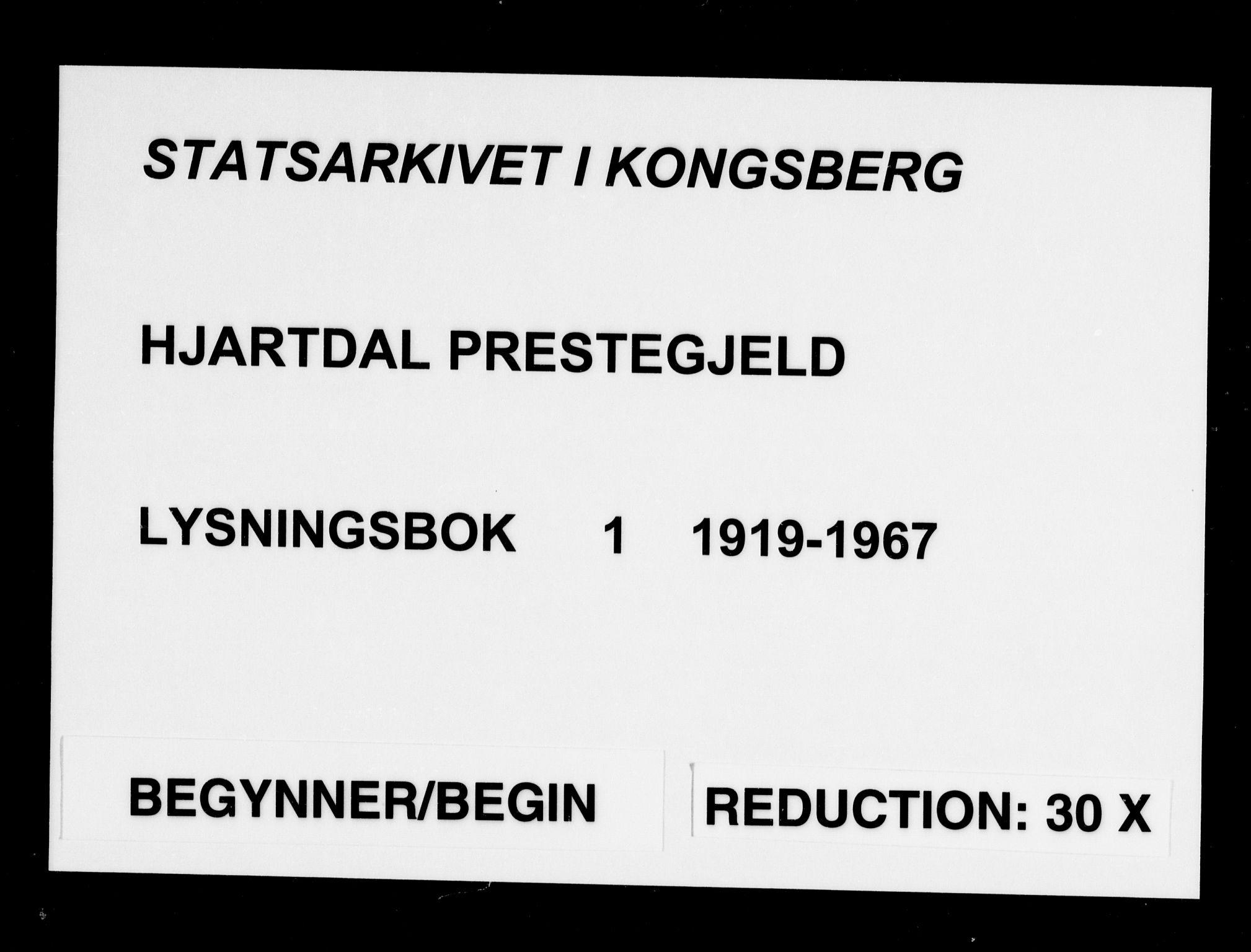 SAKO, Hjartdal kirkebøker, H/Ha/L0001: Lysningsprotokoll nr. 1, 1919-1967