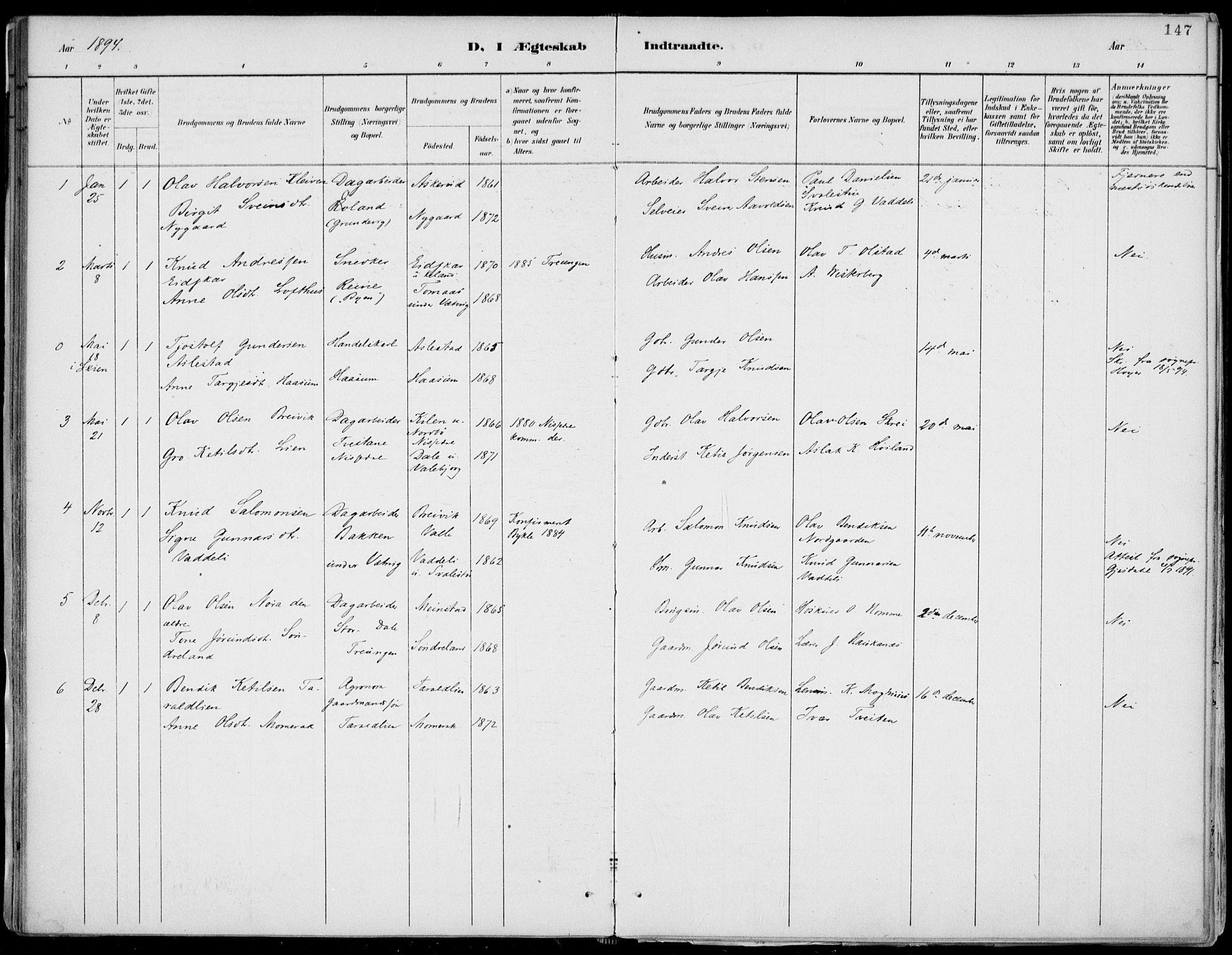 SAKO, Fyresdal kirkebøker, F/Fa/L0007: Ministerialbok nr. I 7, 1887-1914, s. 147